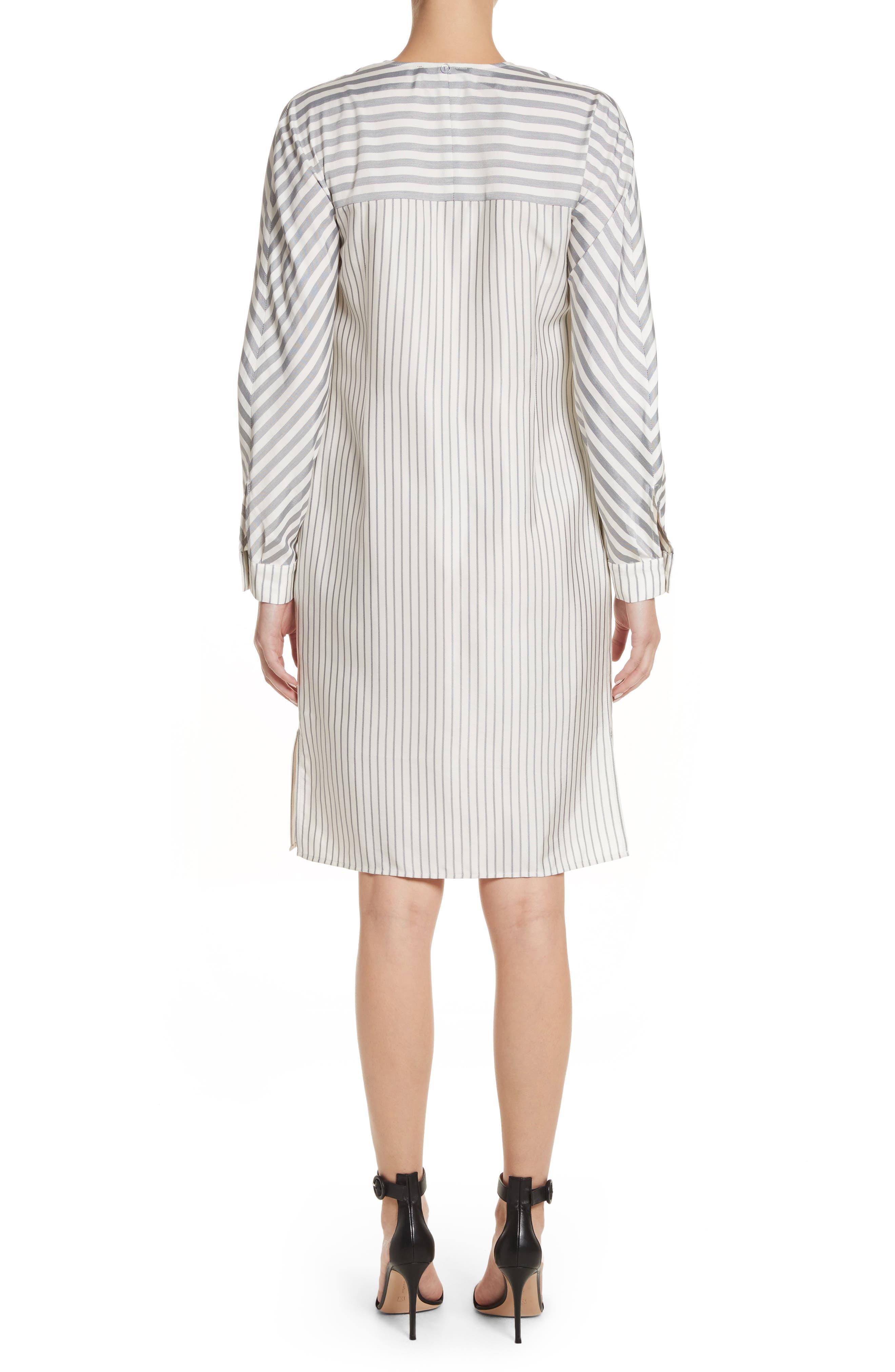 ST. JOHN COLLECTION,                             Stripe Tie Neck Shirtdress,                             Alternate thumbnail 2, color,                             900