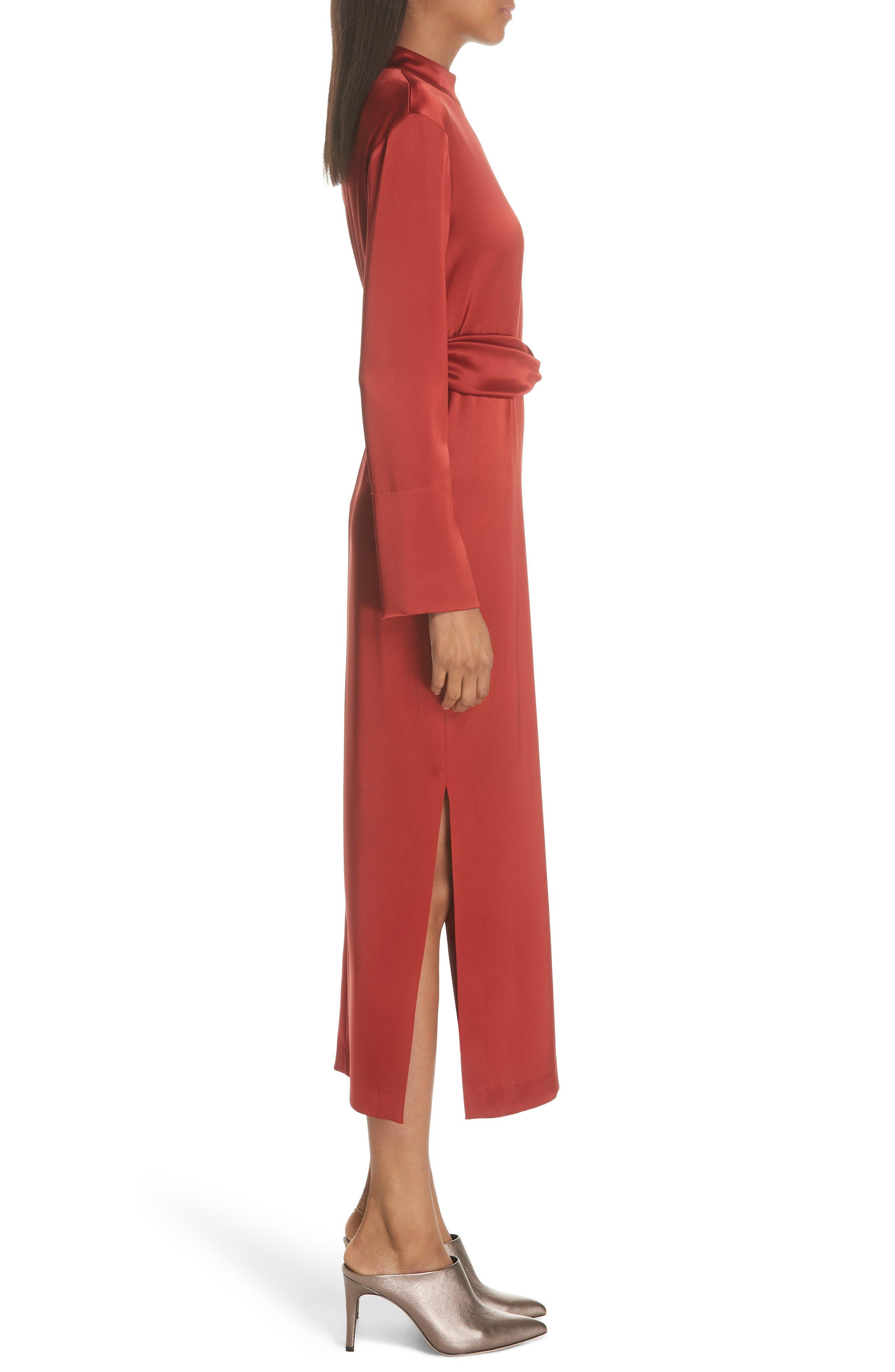 Sadie Belted Satin Dress,                             Alternate thumbnail 3, color,                             640