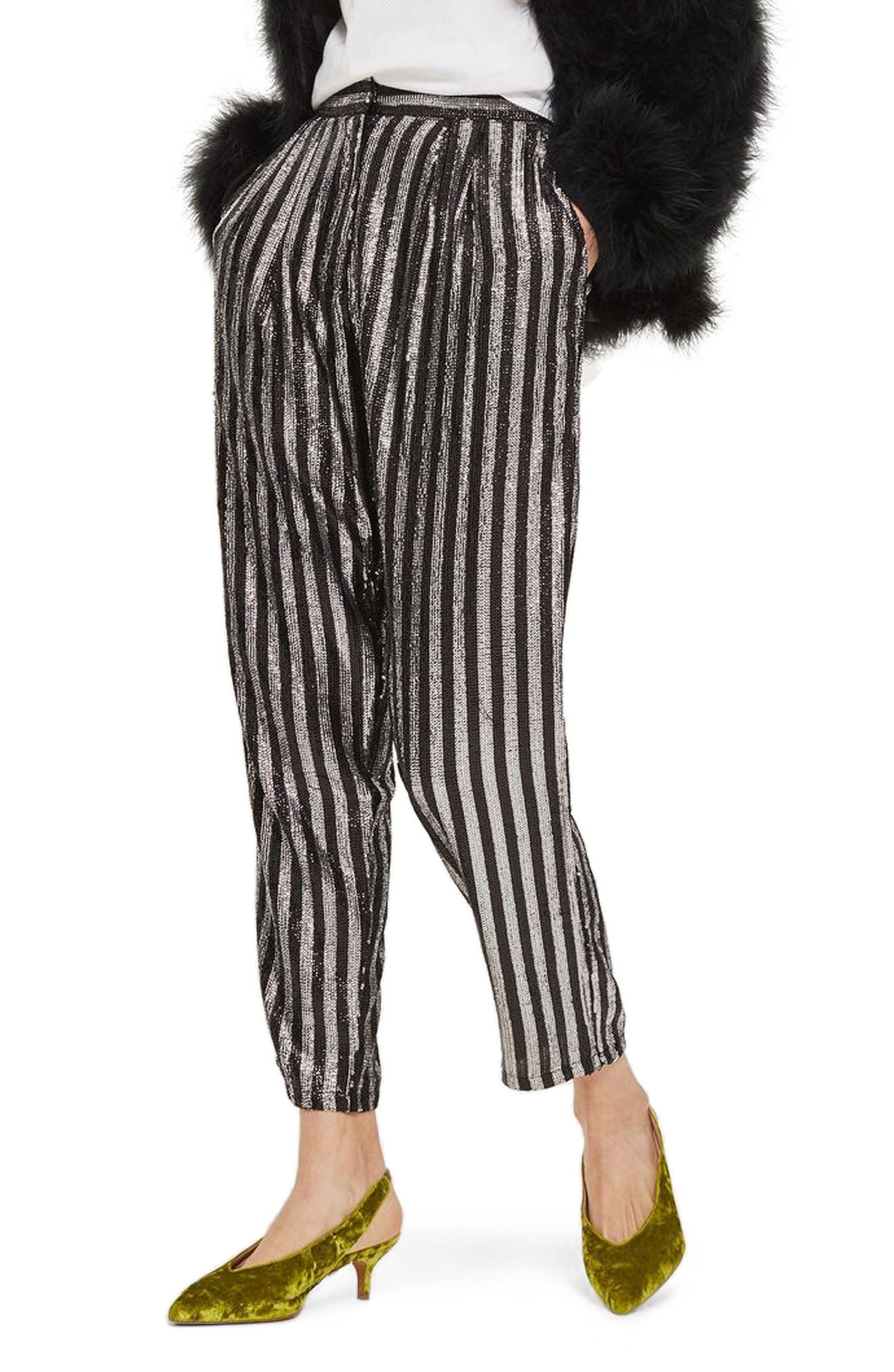 Sequin Stripe Mensy Trousers,                             Main thumbnail 1, color,                             001