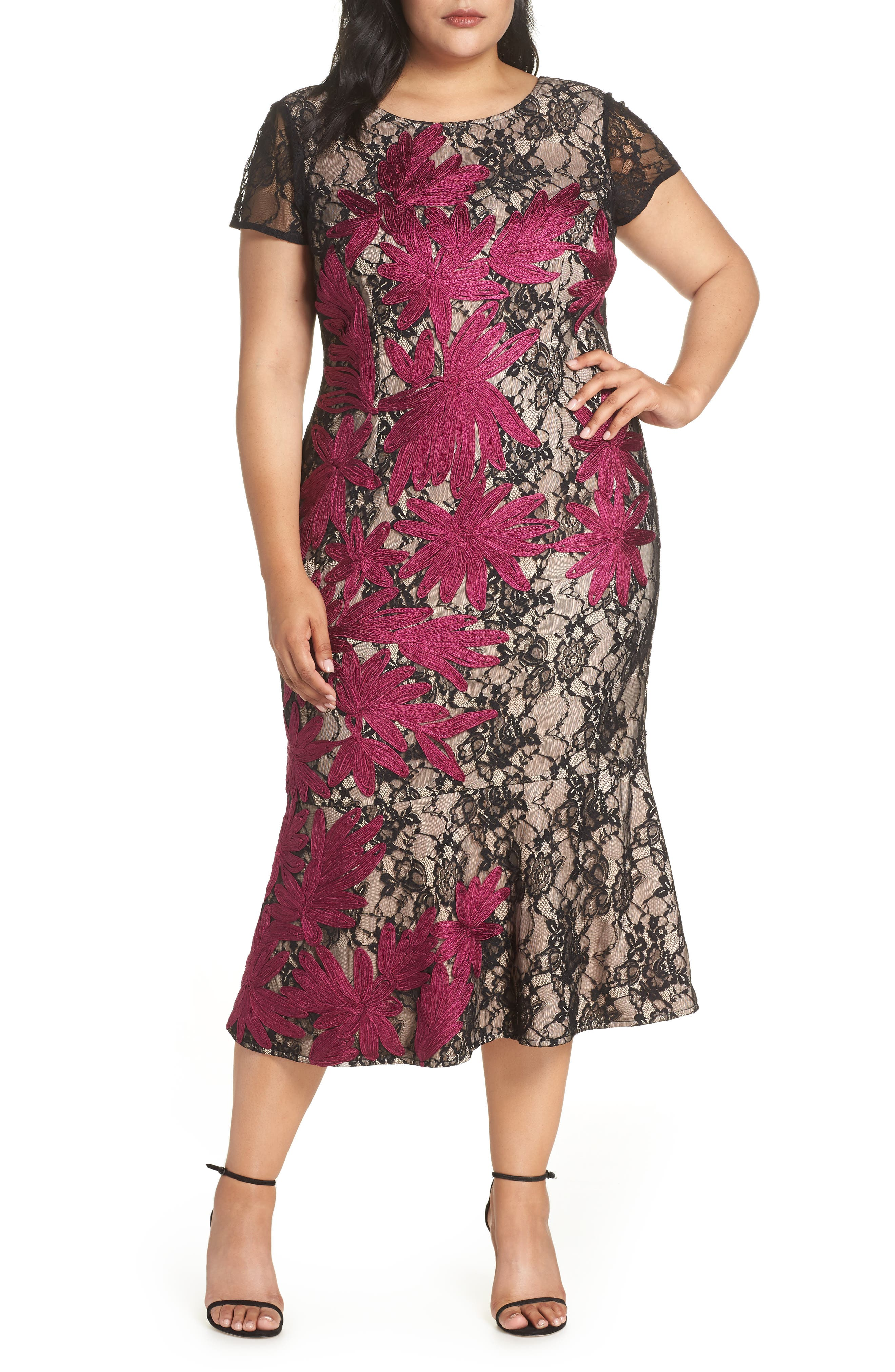 Two Tone Embroidered Lace Dress,                             Main thumbnail 1, color,                             BLACK/ MAGENTA