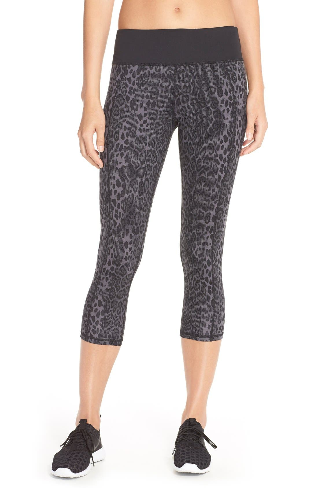 'Stria' Leopard Print Capris,                             Main thumbnail 1, color,                             001