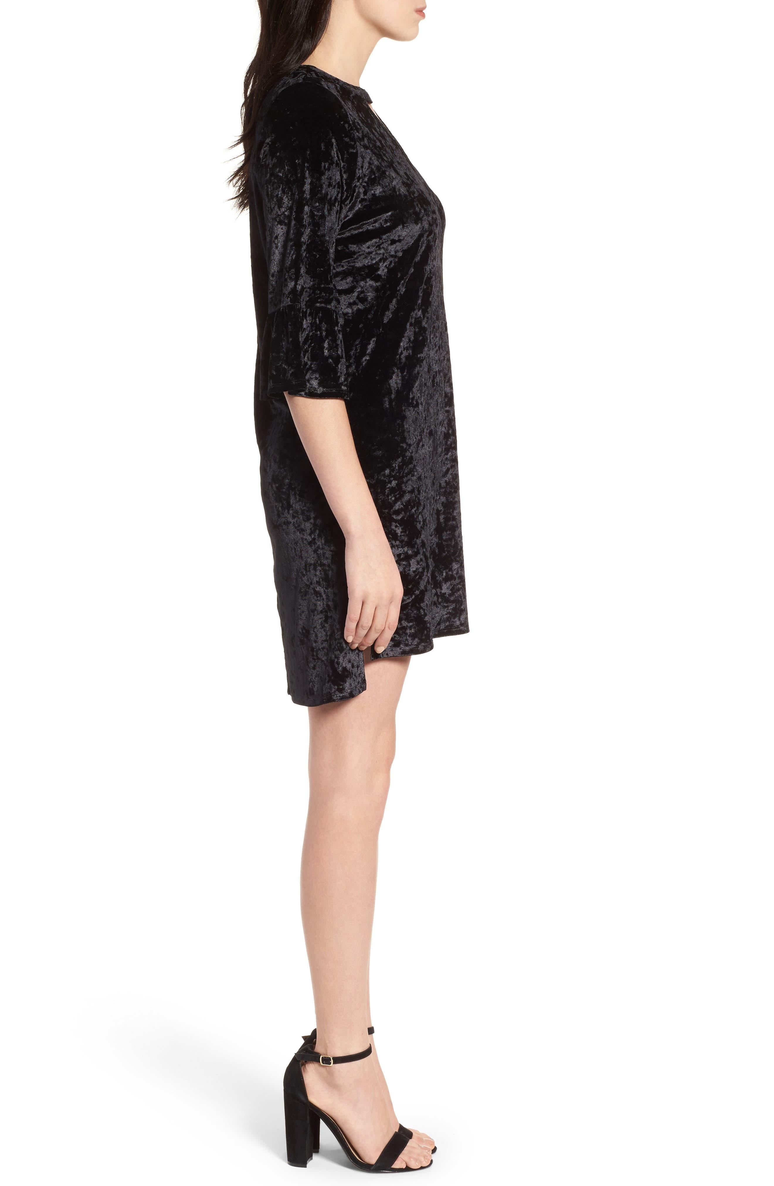Velvet Keyhole A-Line Dress,                             Alternate thumbnail 3, color,