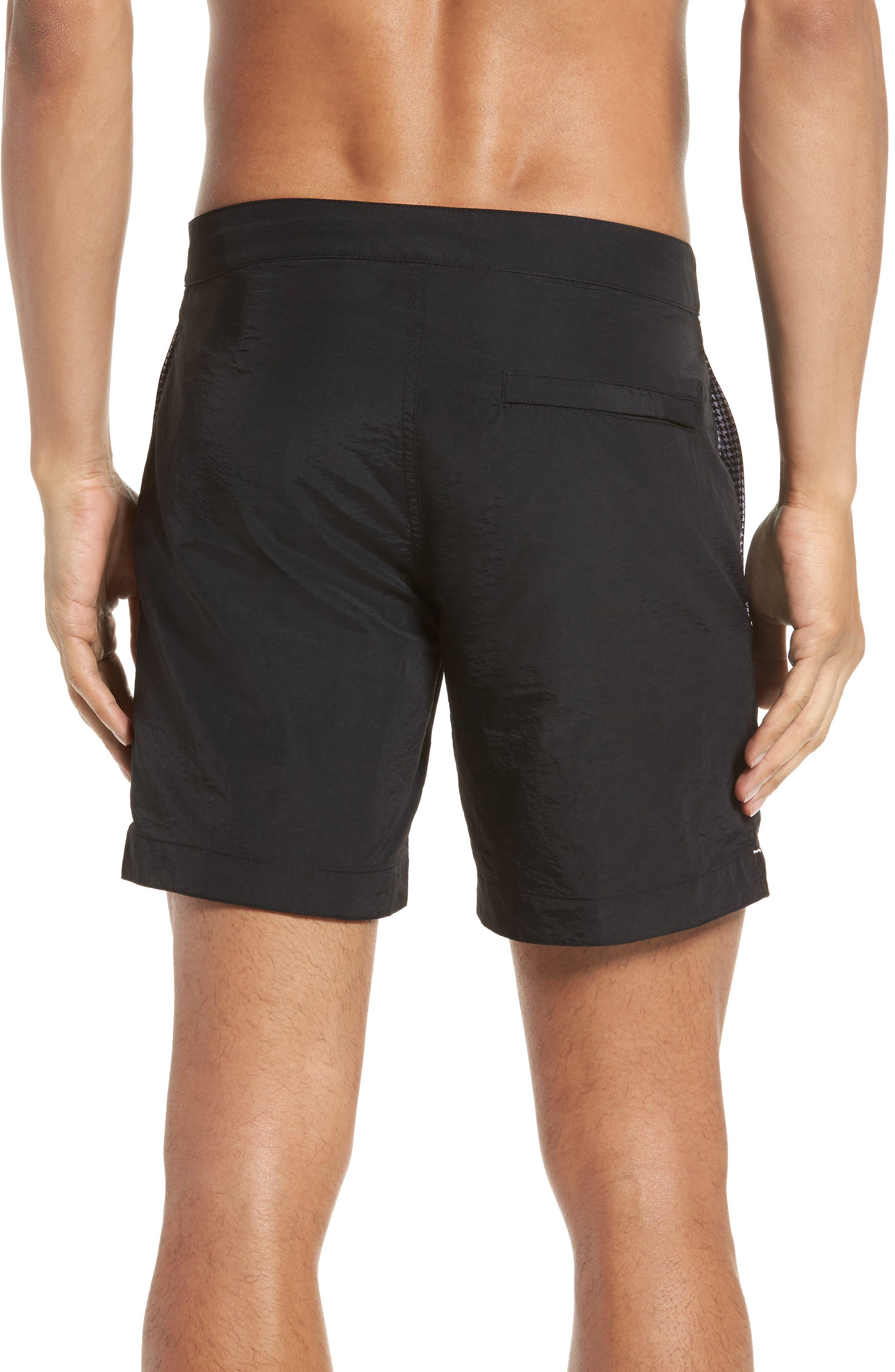 'Aruba' Tailored Fit Swim Trunks,                             Alternate thumbnail 2, color,                             MIDNIGHT BLACK SOLID