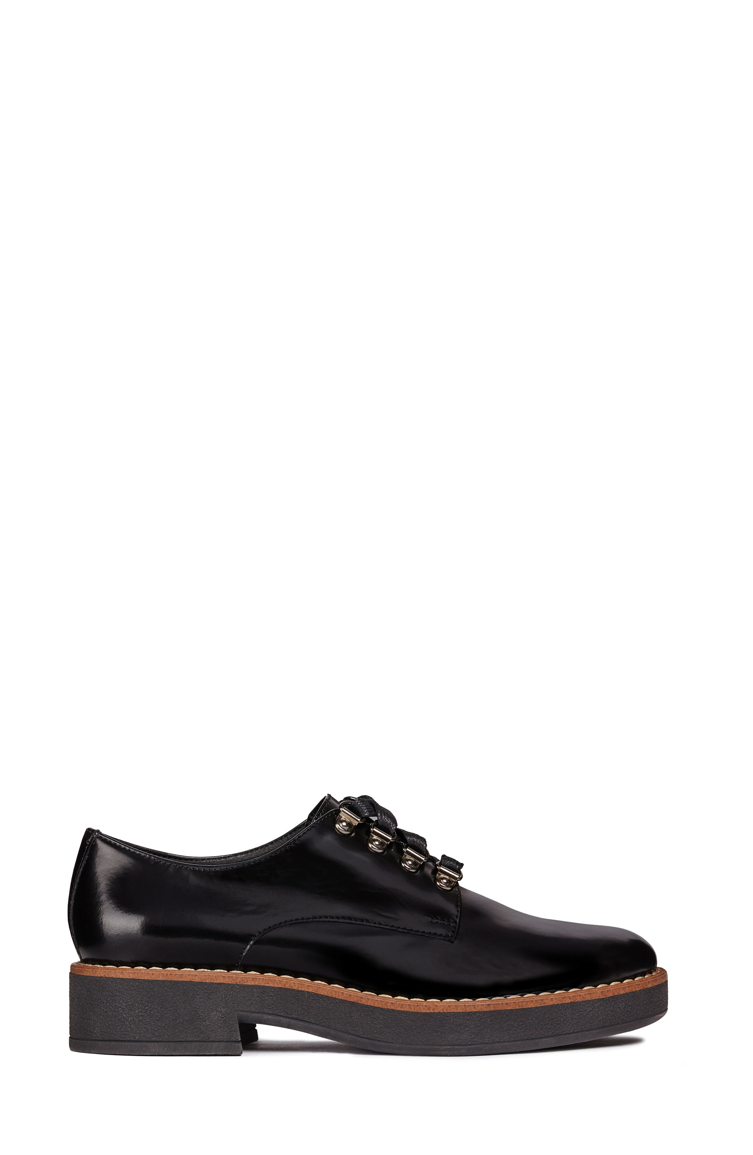 Adrya Oxford,                             Alternate thumbnail 3, color,                             BLACK/ BEIGE LEATHER