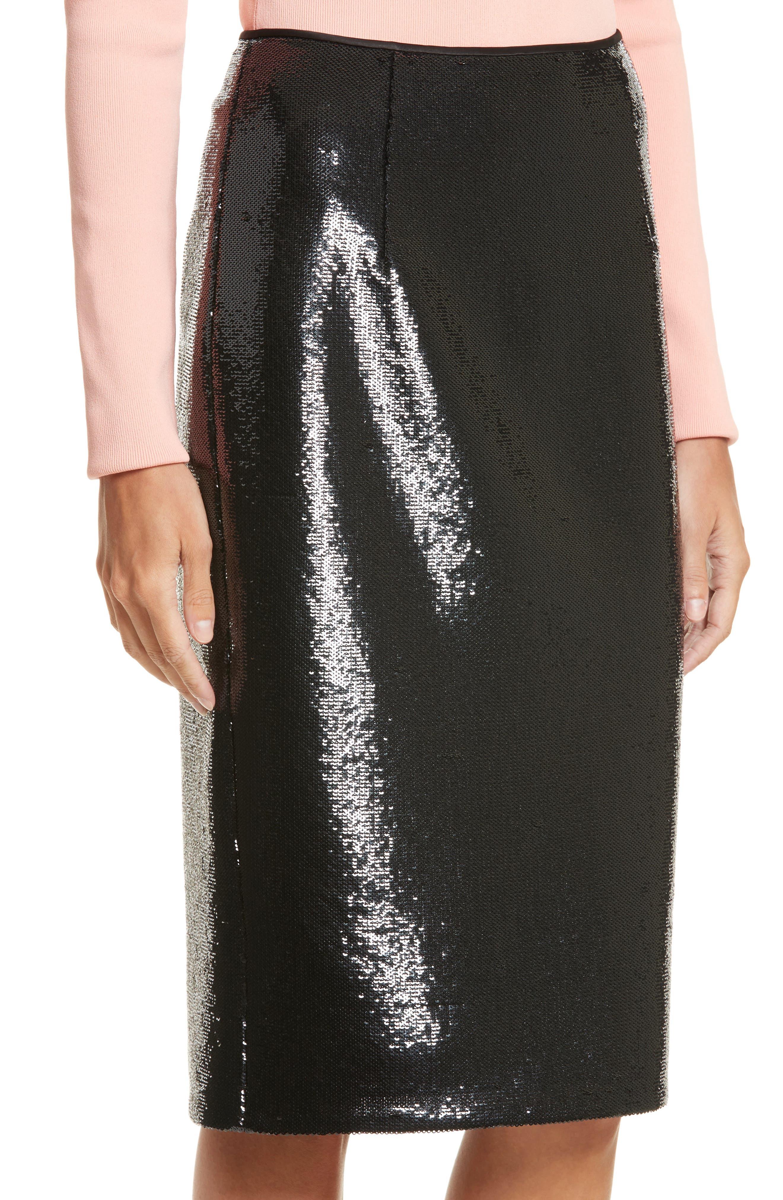 Diane von Furstenberg Sequin Pencil Skirt,                             Alternate thumbnail 4, color,                             001