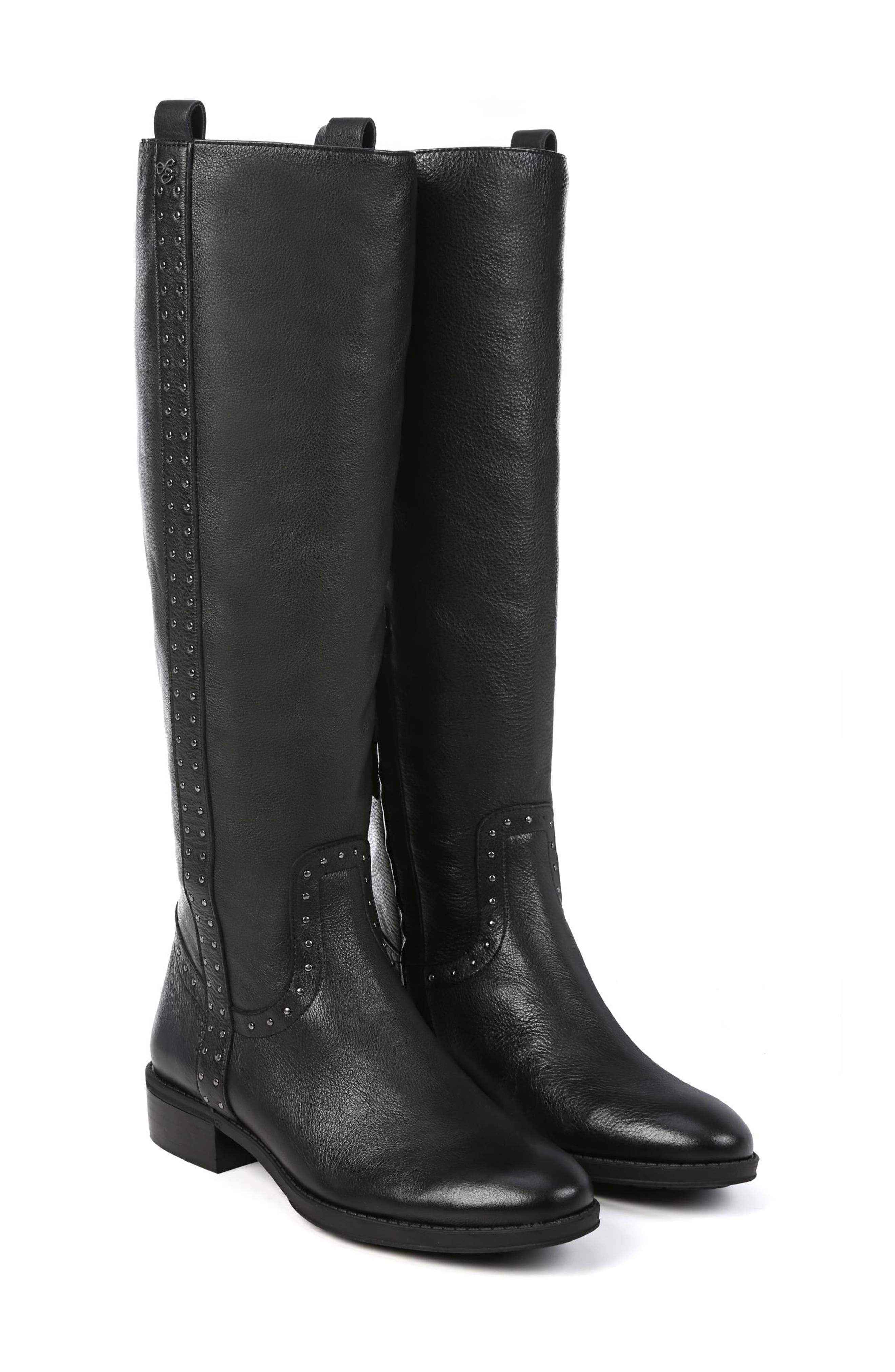 Prina Riding Boot,                             Alternate thumbnail 7, color,                             BLACK LEATHER