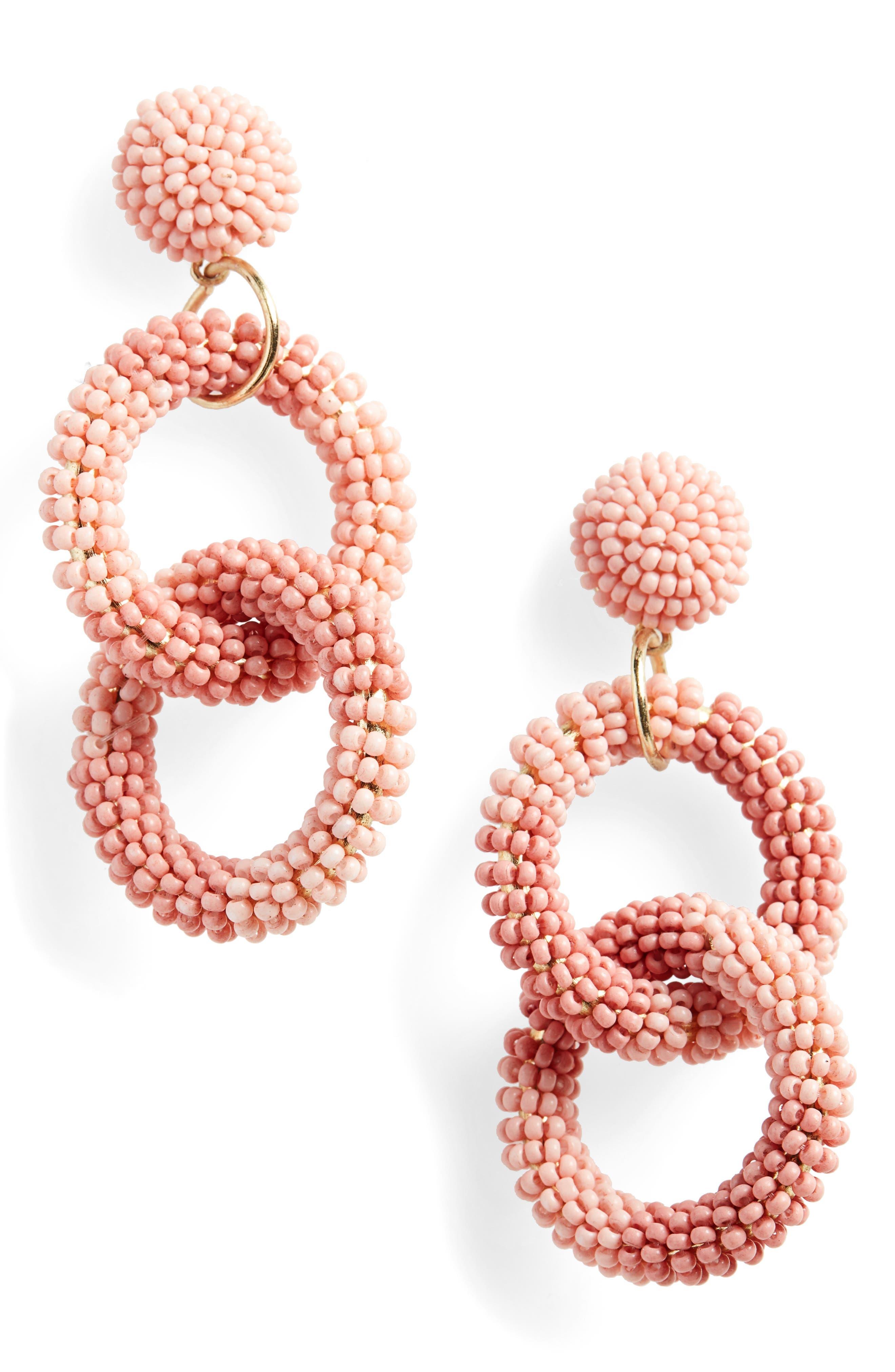 Beaded Circle Drop Earrings,                             Main thumbnail 1, color,                             PINK TONAL