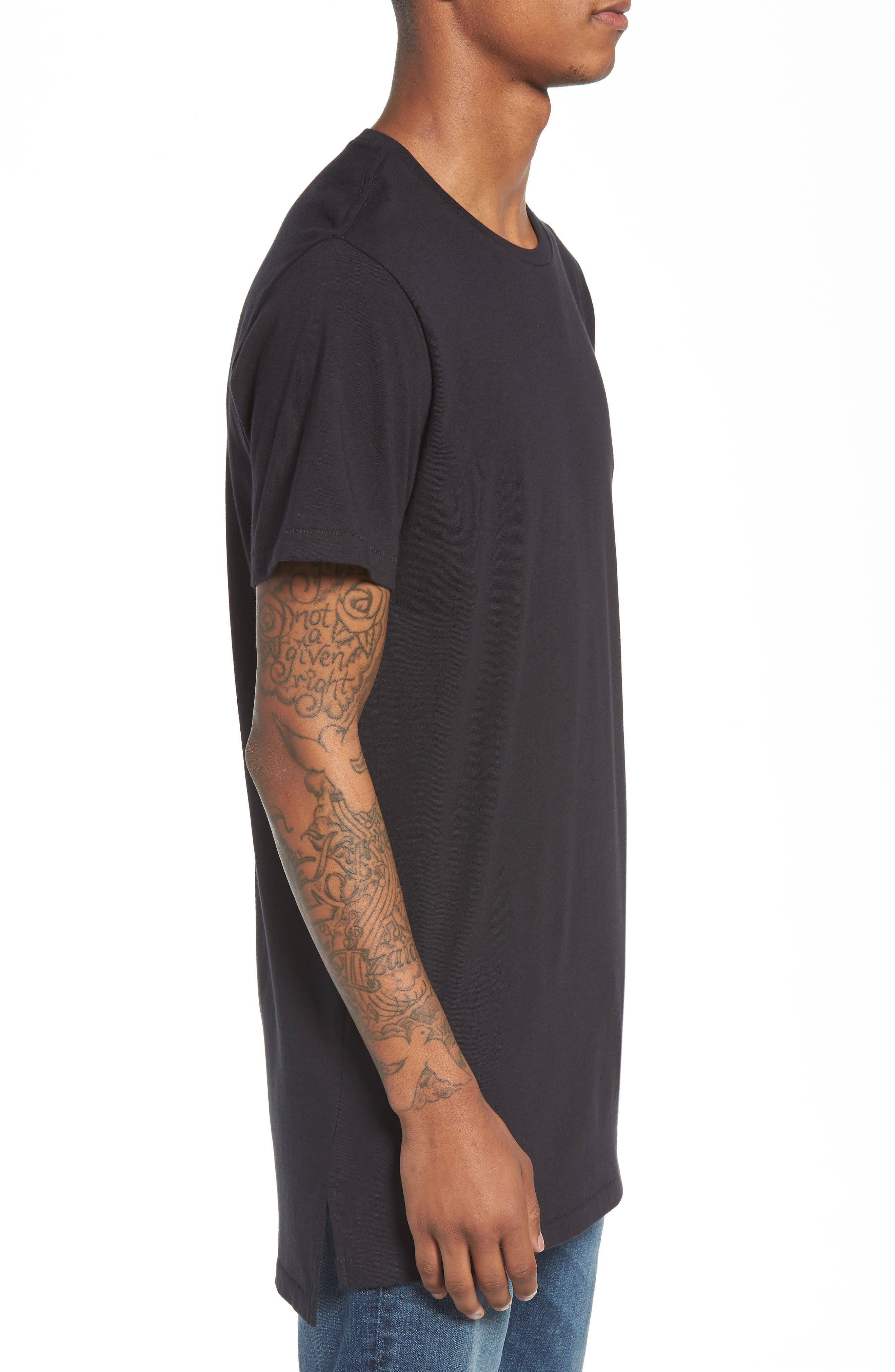 Longline T-Shirt,                             Alternate thumbnail 3, color,                             001