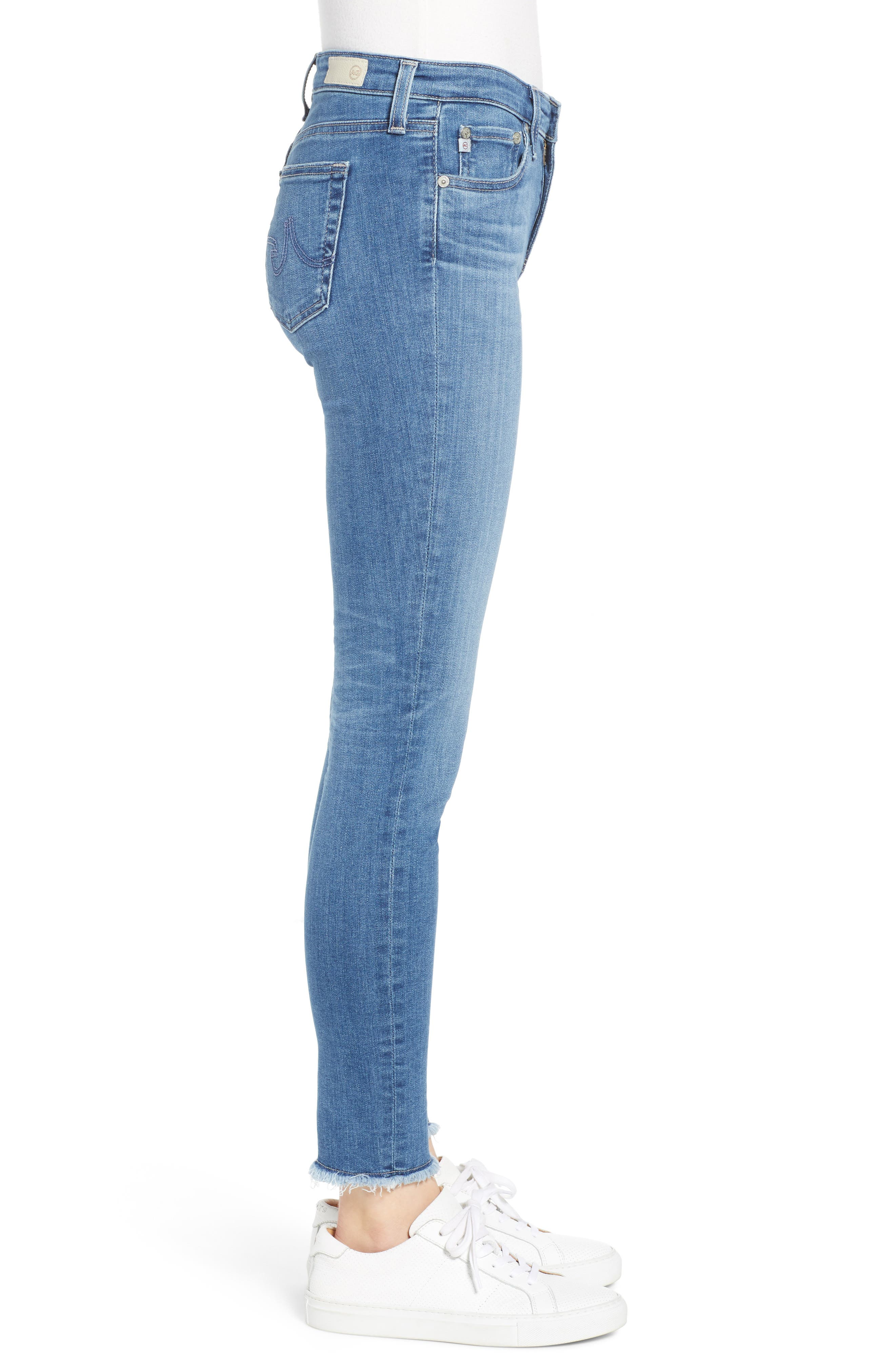 AG,                             The Legging Frayed Ankle Super Skinny Jeans,                             Alternate thumbnail 3, color,                             15 YEAR AFFINITY