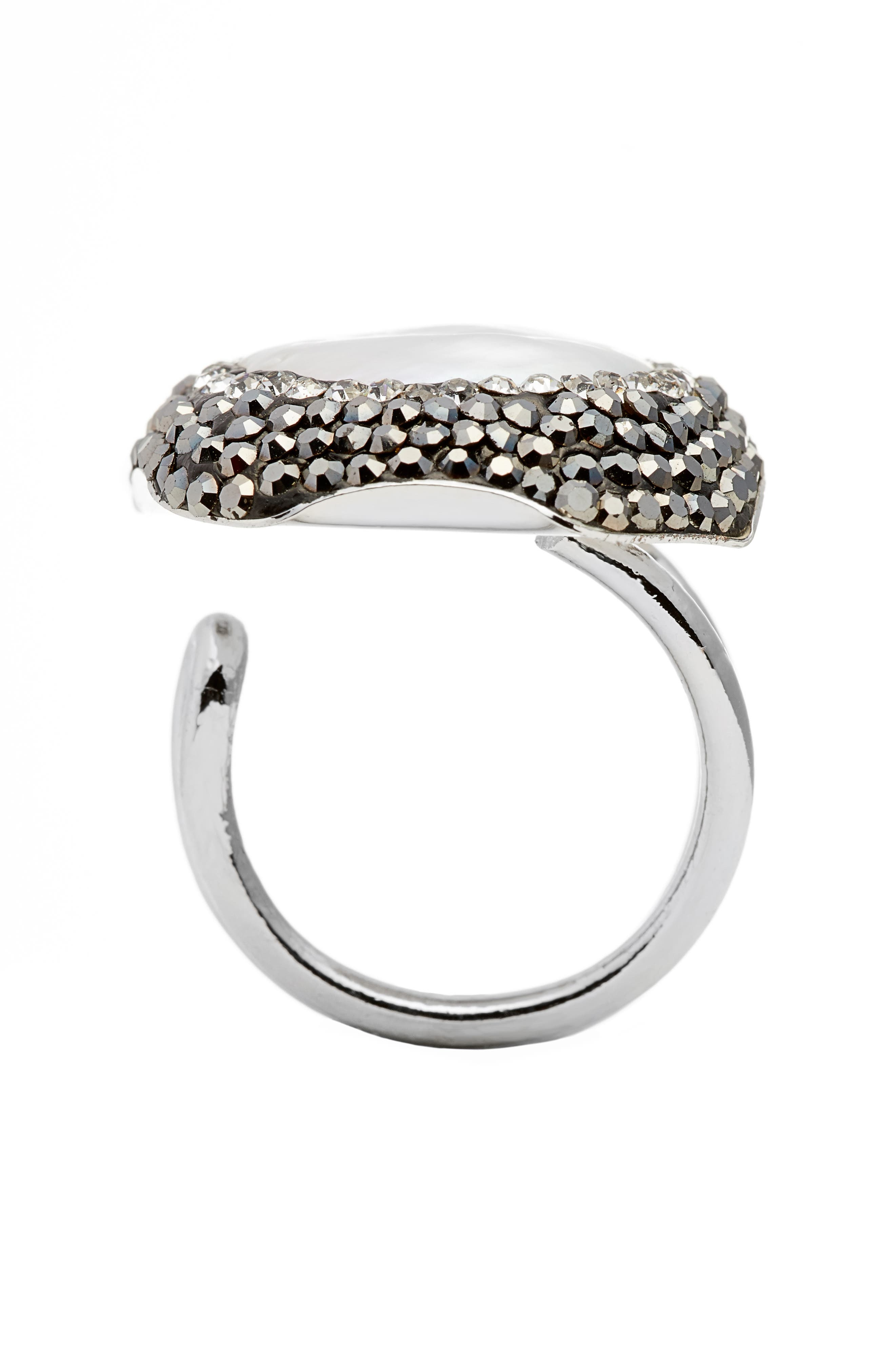 Clarinet Mother-of-Pearl & Crystal Adjustable Ring,                             Alternate thumbnail 2, color,                             900