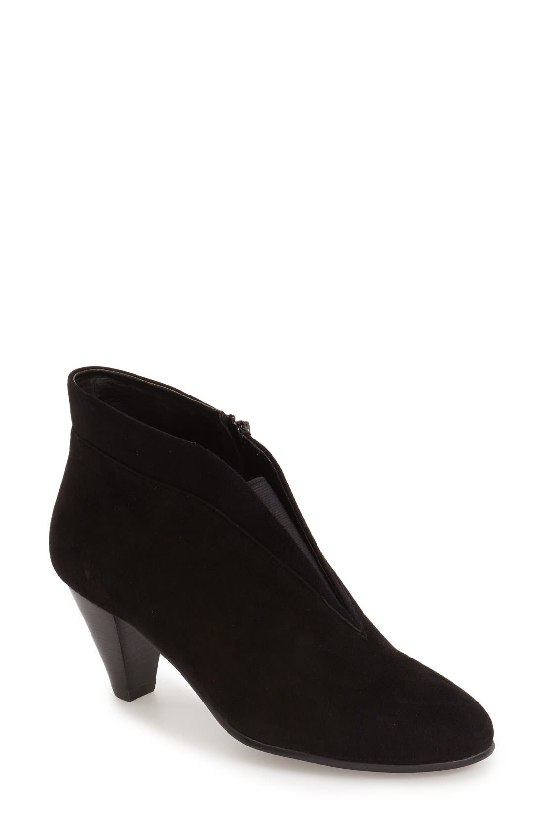'Natalie' V-Cut Zip Bootie,                             Main thumbnail 1, color,                             BLACK SUEDE