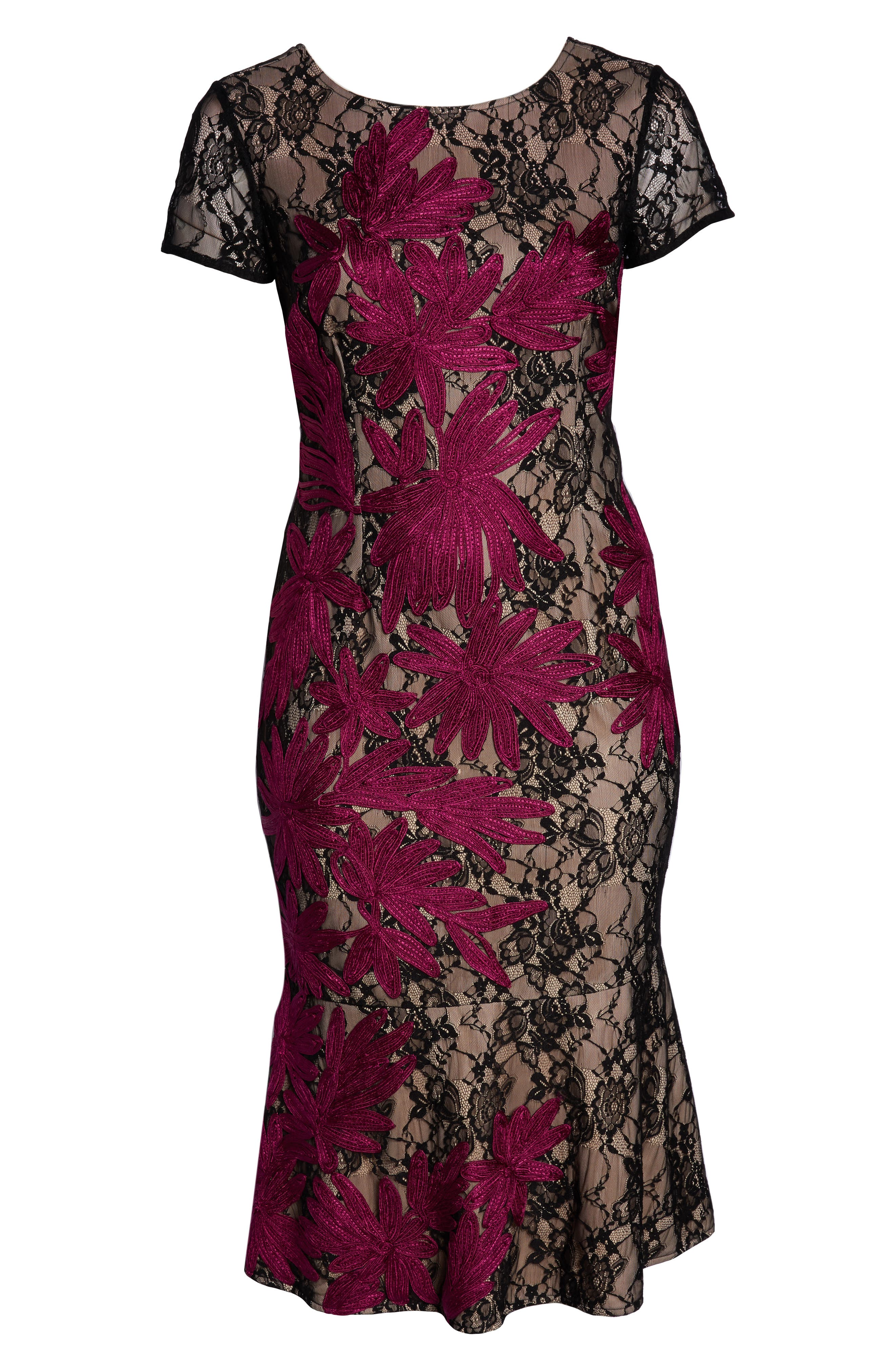 Two Tone Embroidered Lace Dress,                             Alternate thumbnail 7, color,                             BLACK/ MAGENTA