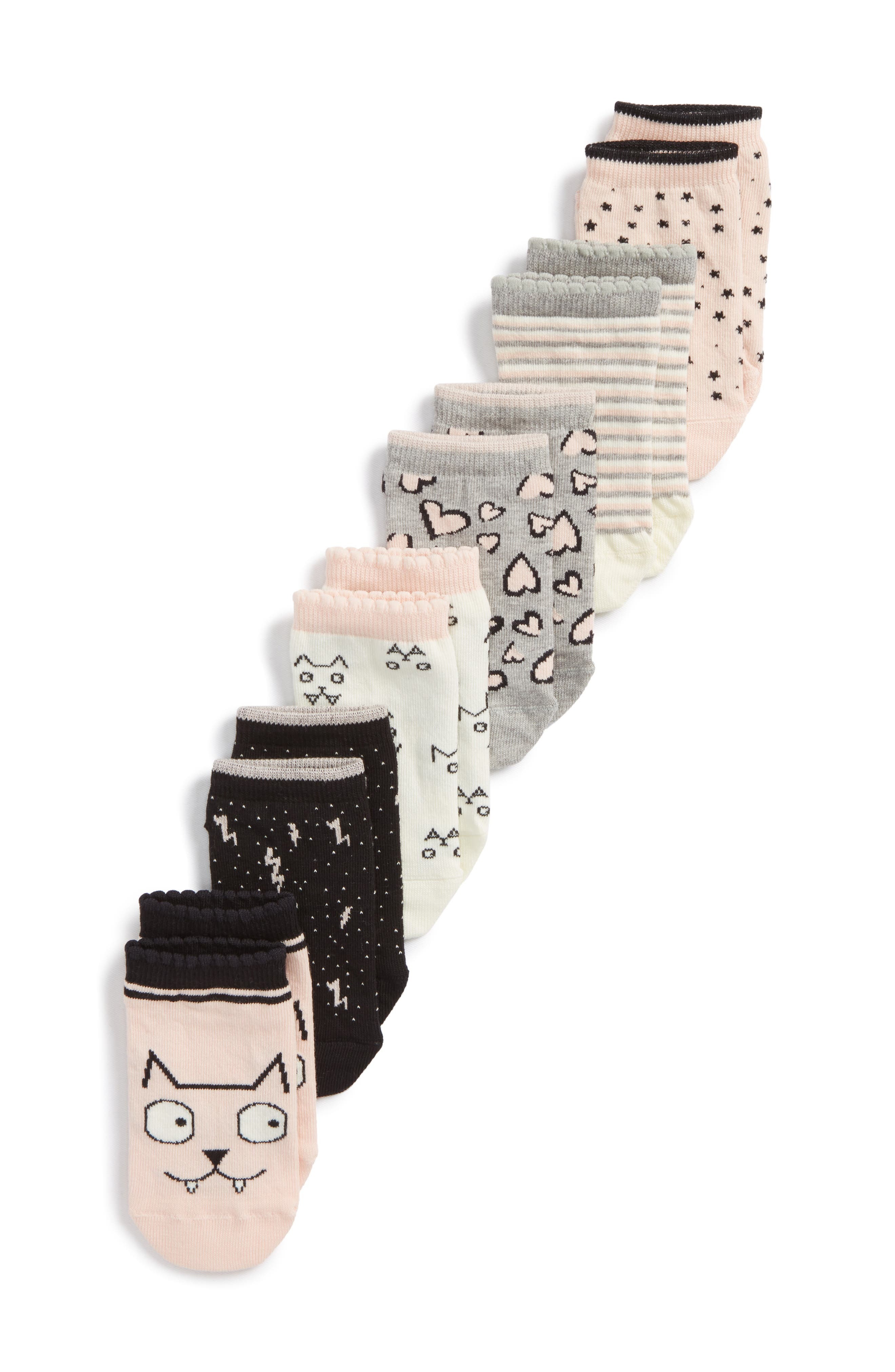 Kitty 6-Pack Assorted Low Cut Socks,                             Main thumbnail 1, color,                             680