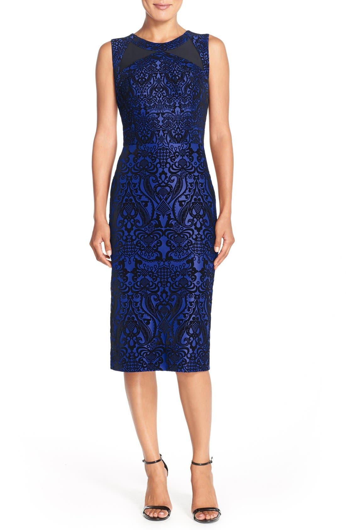 Flecked Scuba Sheath Dress,                             Main thumbnail 2, color,