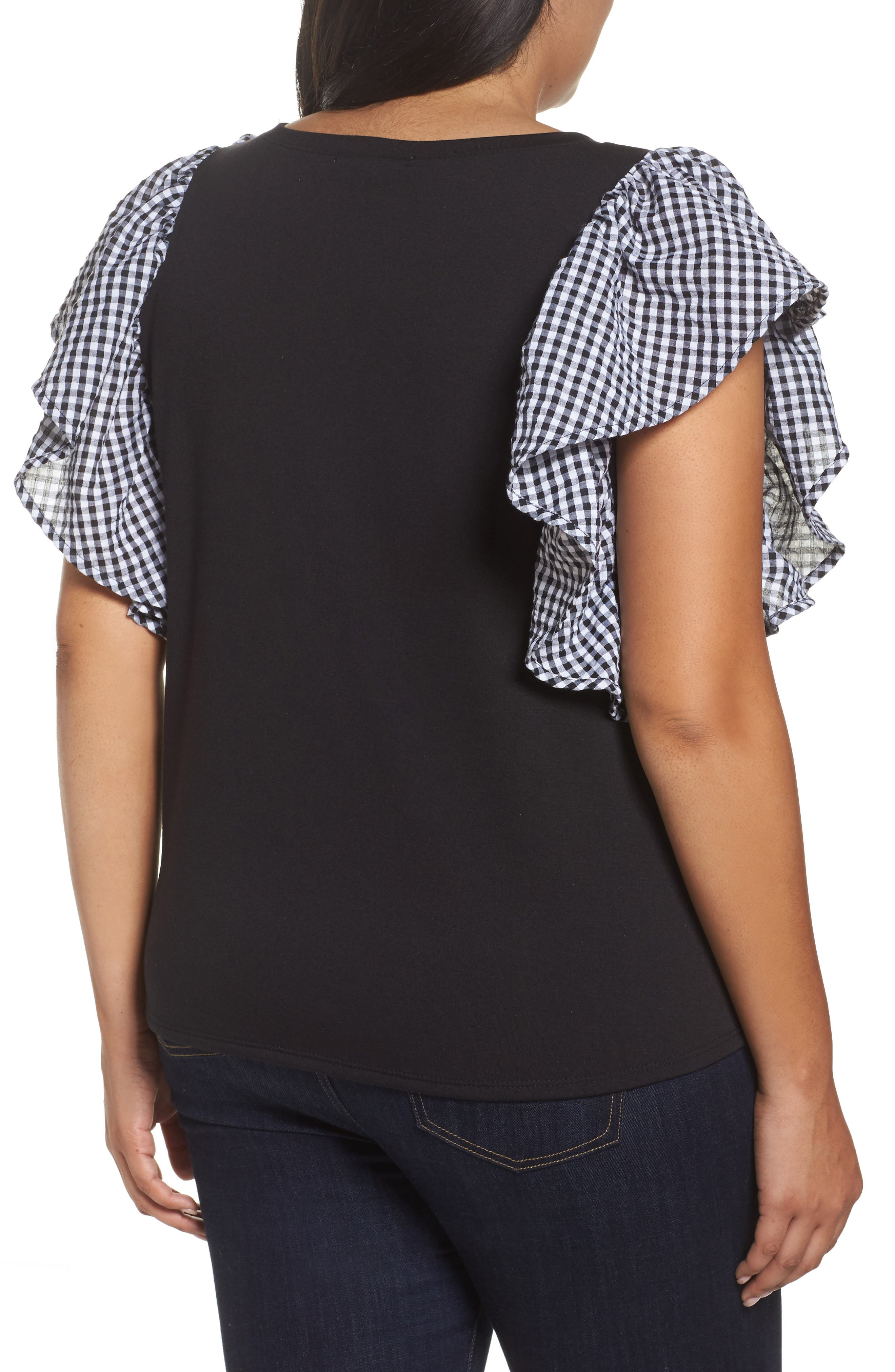 Gingham Ruffle Sleeve Tee,                             Alternate thumbnail 2, color,                             001
