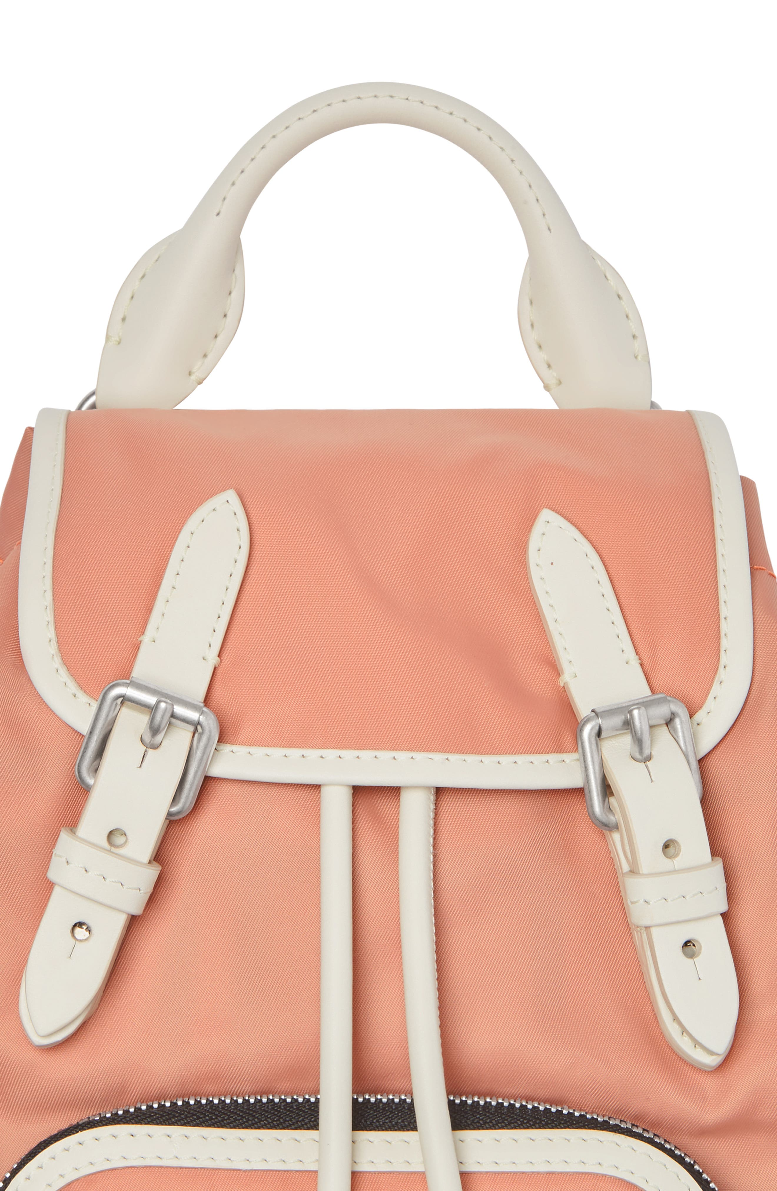 Small Rucksack Nylon Backpack,                             Alternate thumbnail 4, color,                             POWDER PINK