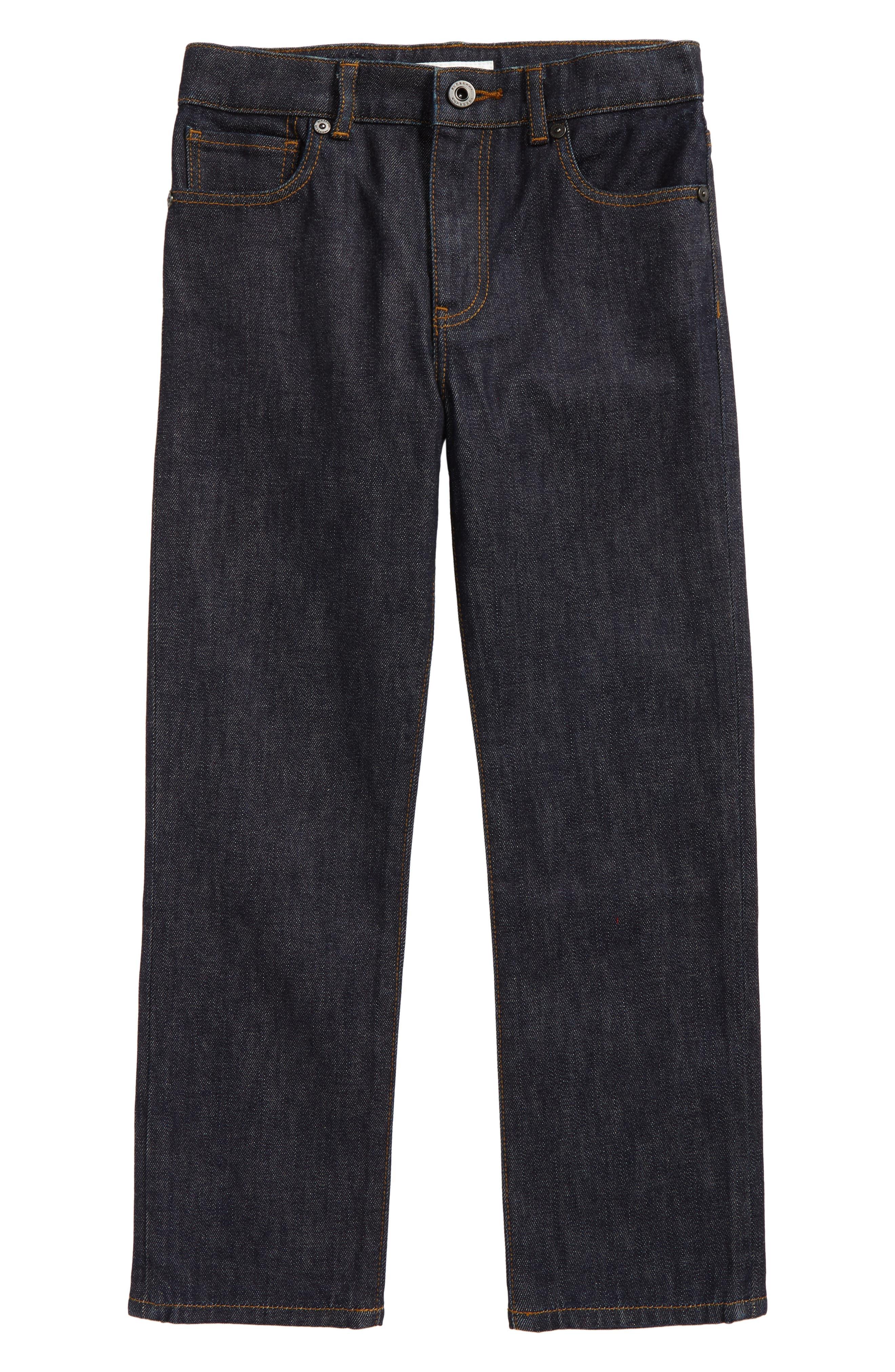 Check Cuff Straight Leg Jeans,                             Main thumbnail 1, color,