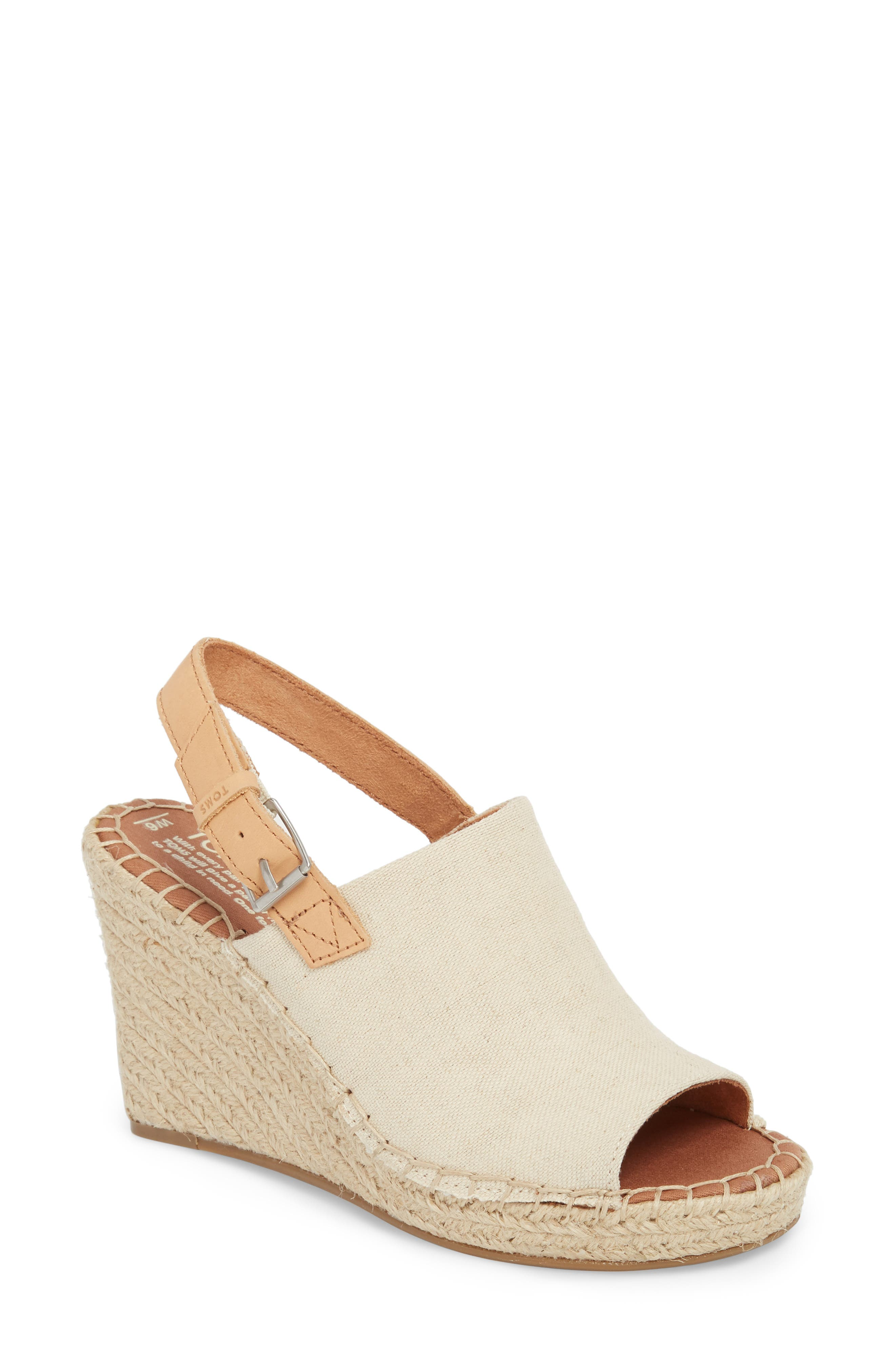 Monica Slingback Wedge,                         Main,                         color, NATURAL HEMP/ LEATHER