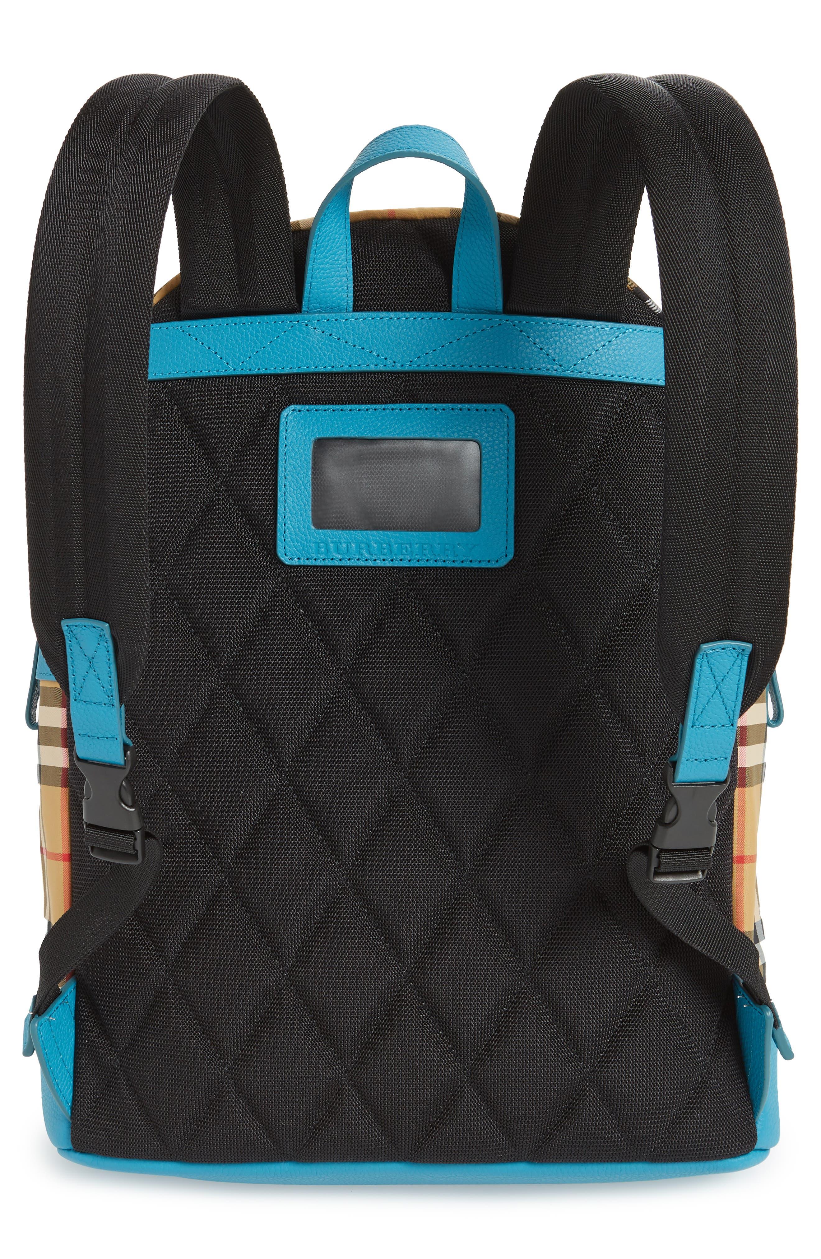 BURBERRY,                             Nico Sun Check Nylon Backpack,                             Alternate thumbnail 3, color,                             ANTIQUE YELLW IP CHK