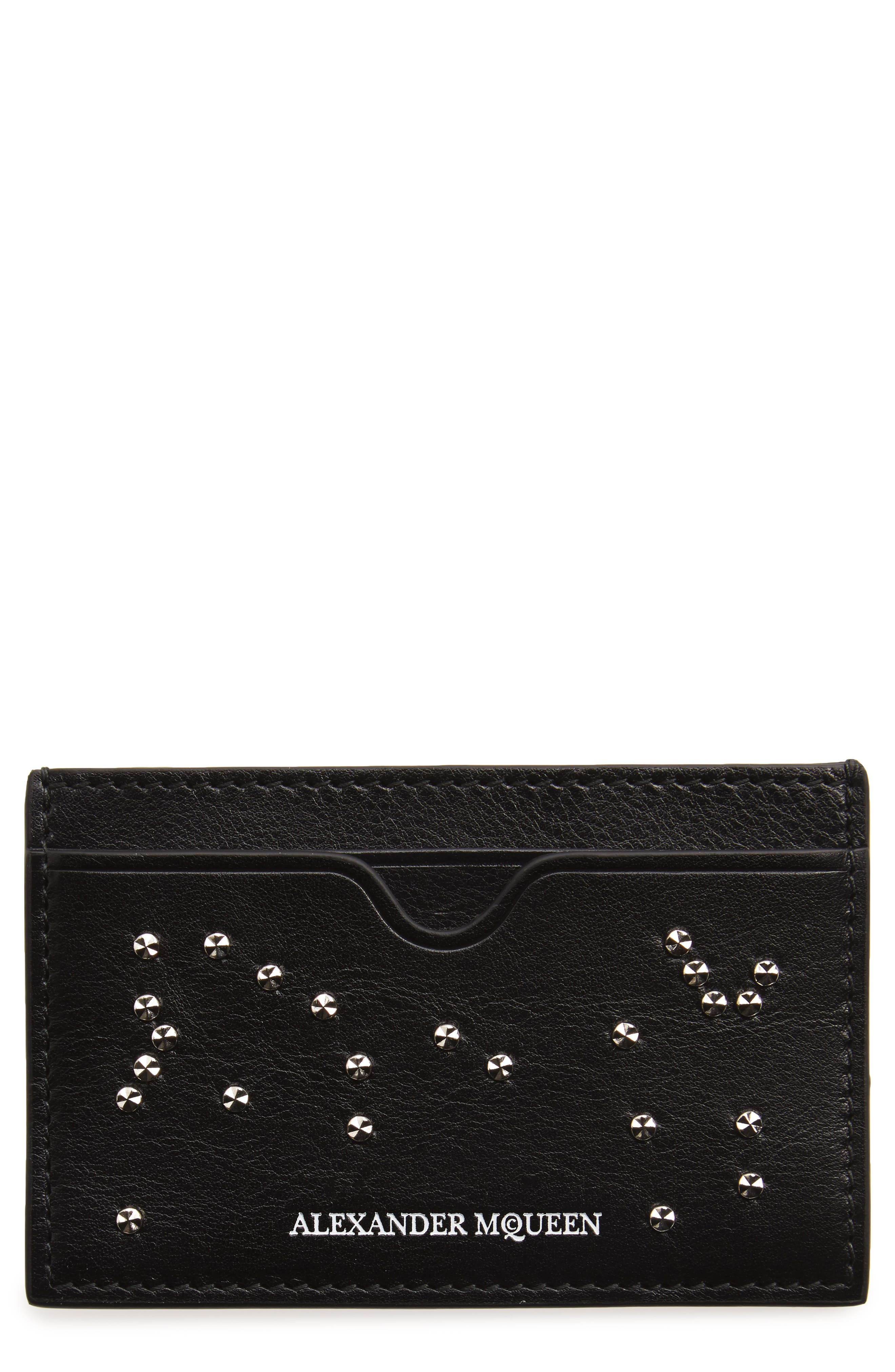 Stud Skull Leather Card Case,                             Main thumbnail 1, color,
