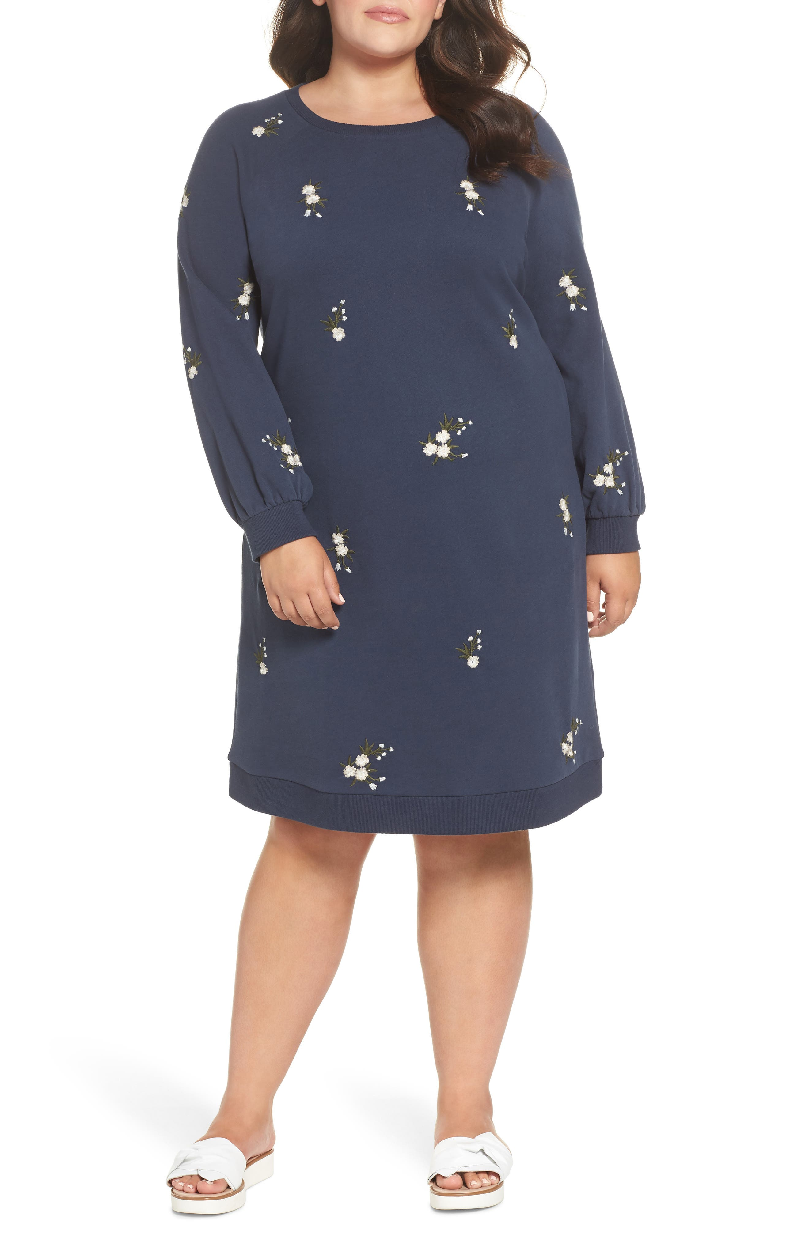 Embroidered Fleece Knit Dress,                             Main thumbnail 1, color,                             410
