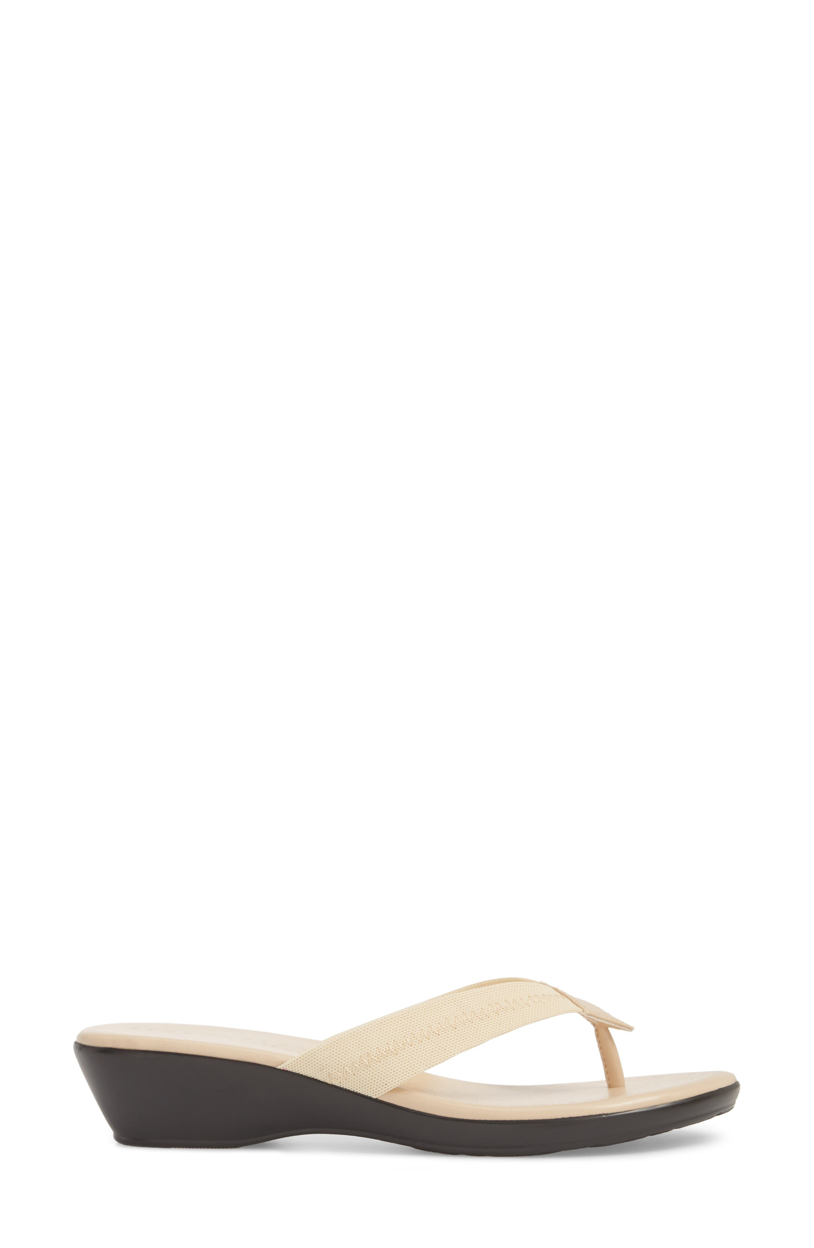 Ying Flip Flop,                             Alternate thumbnail 3, color,                             BEIGE STRETCH FABRIC