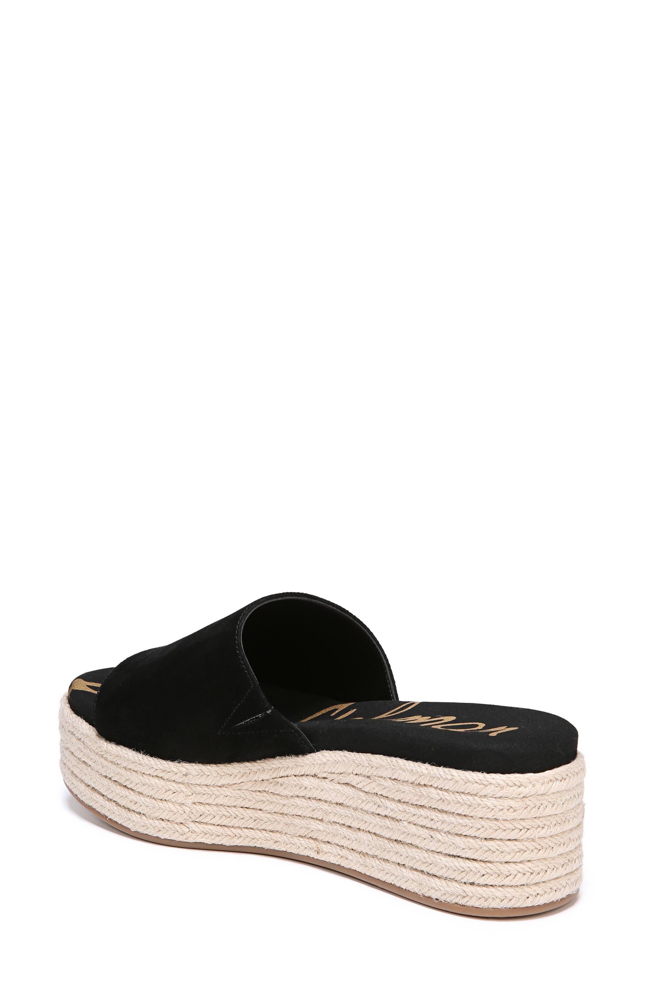 Weslee Platform Slide Sandal,                             Alternate thumbnail 2, color,                             BLACK SUEDE