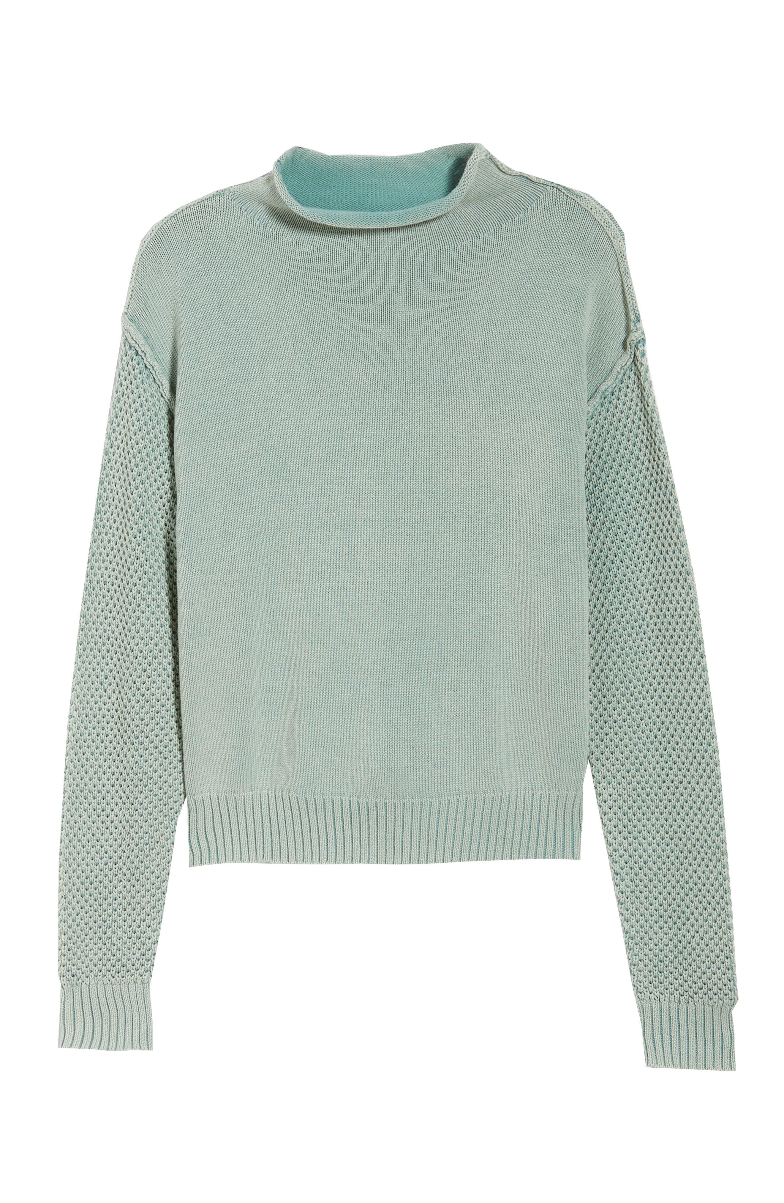 Exposed Seam Sweater,                             Alternate thumbnail 6, color,                             SEA WASH