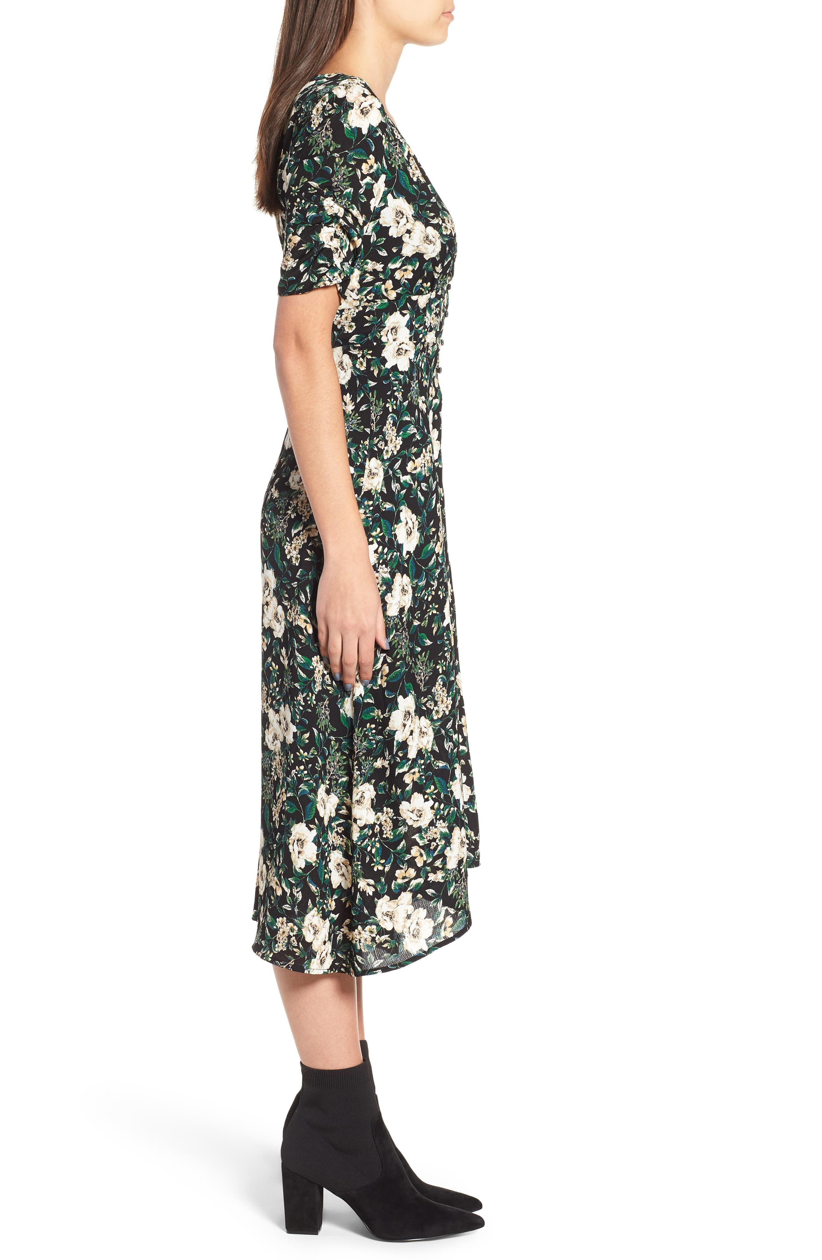 Button Front Midi Dress,                             Alternate thumbnail 3, color,                             GREEN IVORY FLORAL