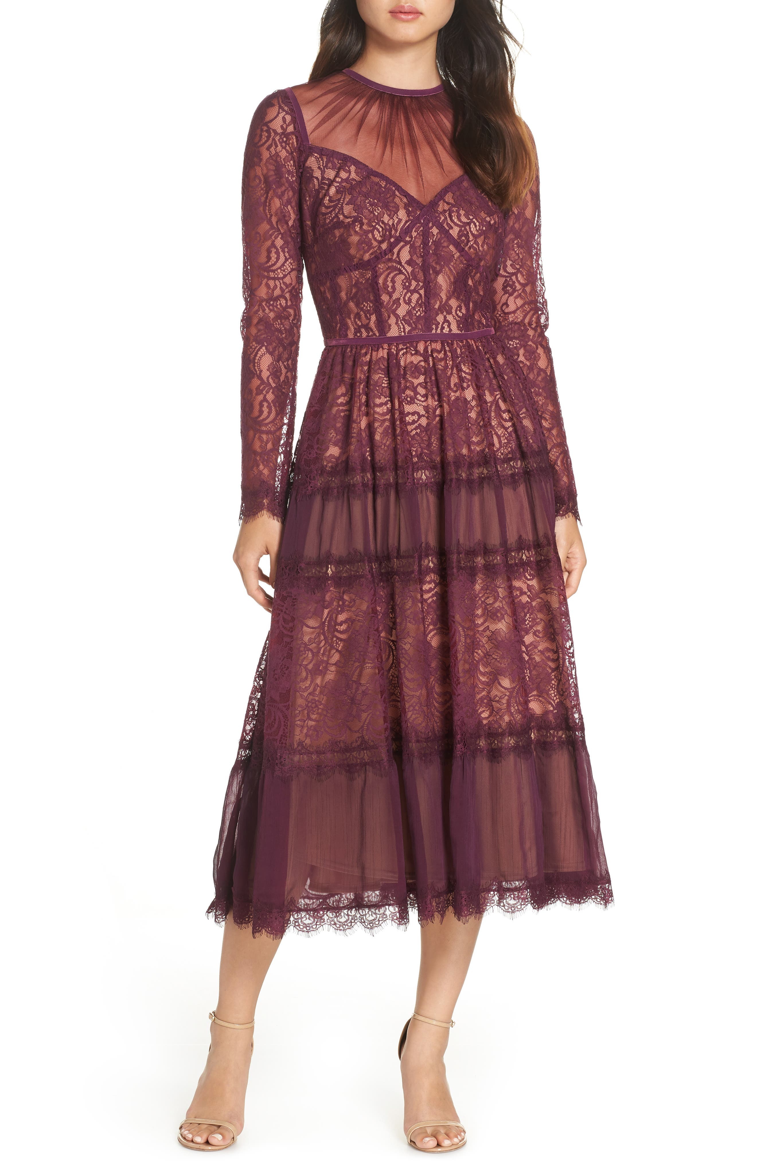 Embroidered Lace Dress,                         Main,                         color, DEWBERRY/ NUDE