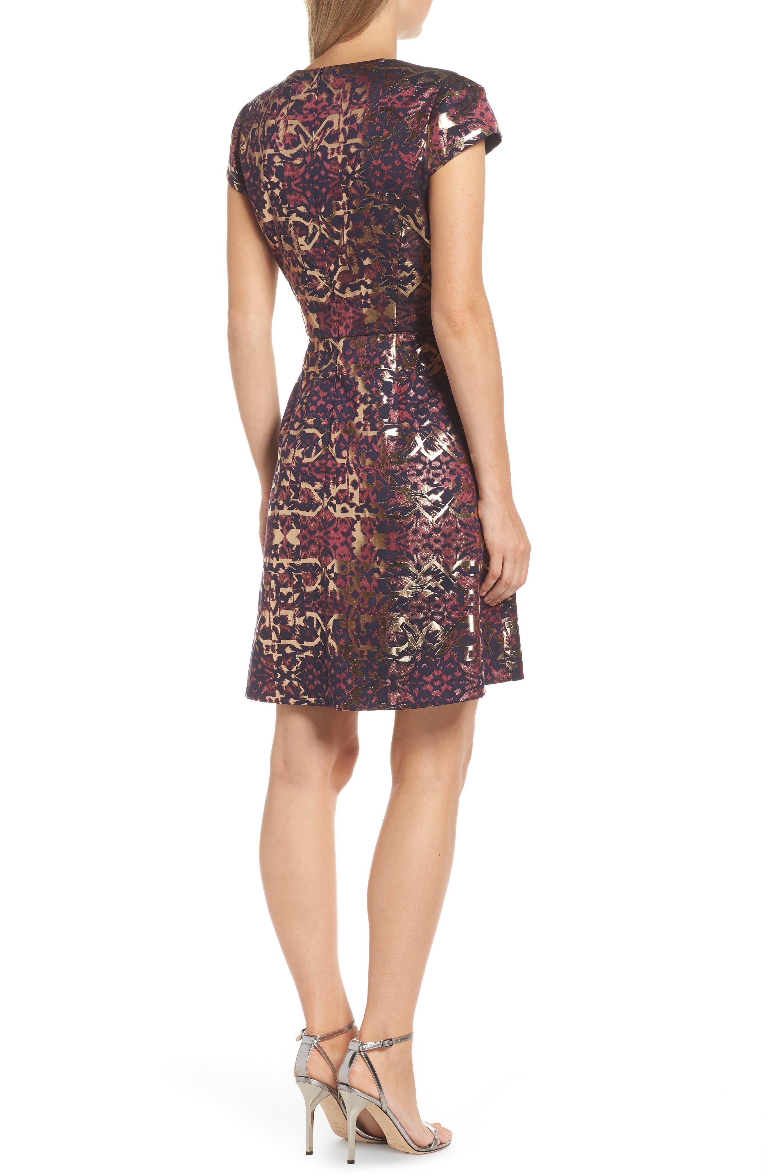Metallic Jacquard Fit & Flare Dress,                             Alternate thumbnail 2, color,                             PINK MULTI