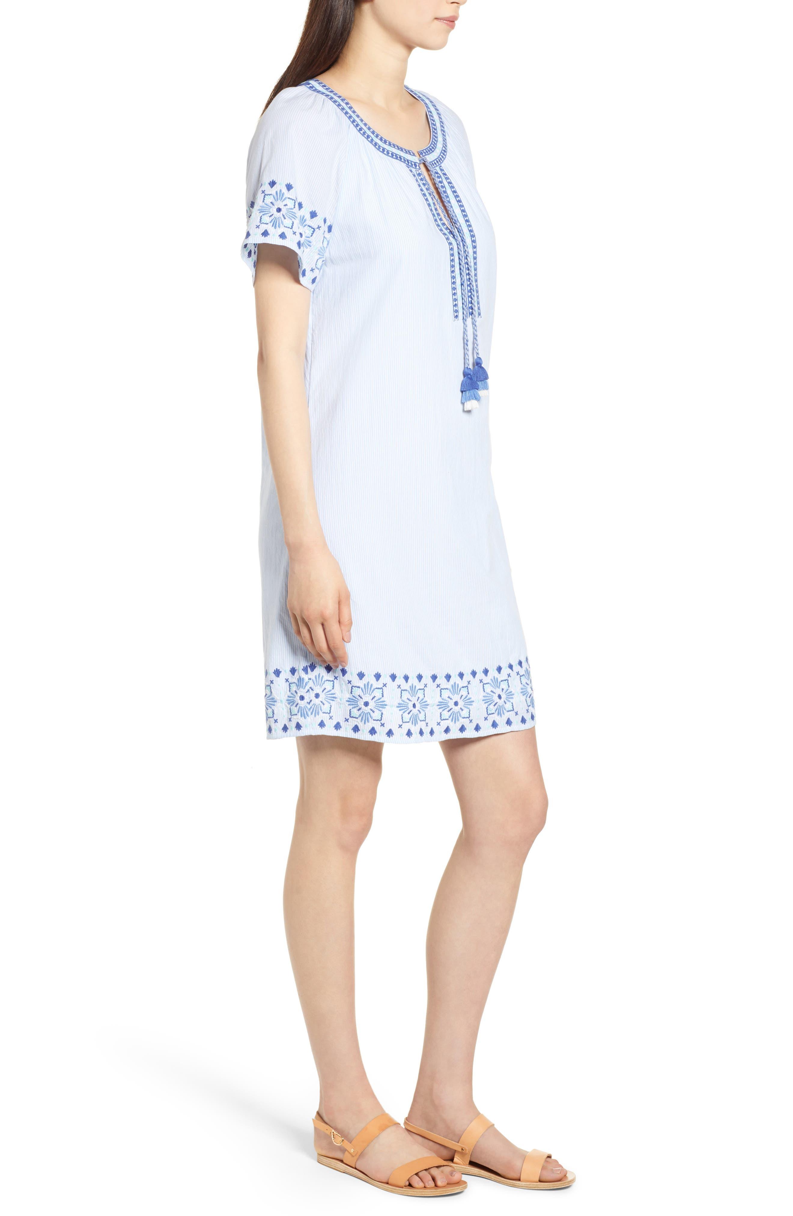 Sea Spray Striped Dress,                             Alternate thumbnail 3, color,                             458