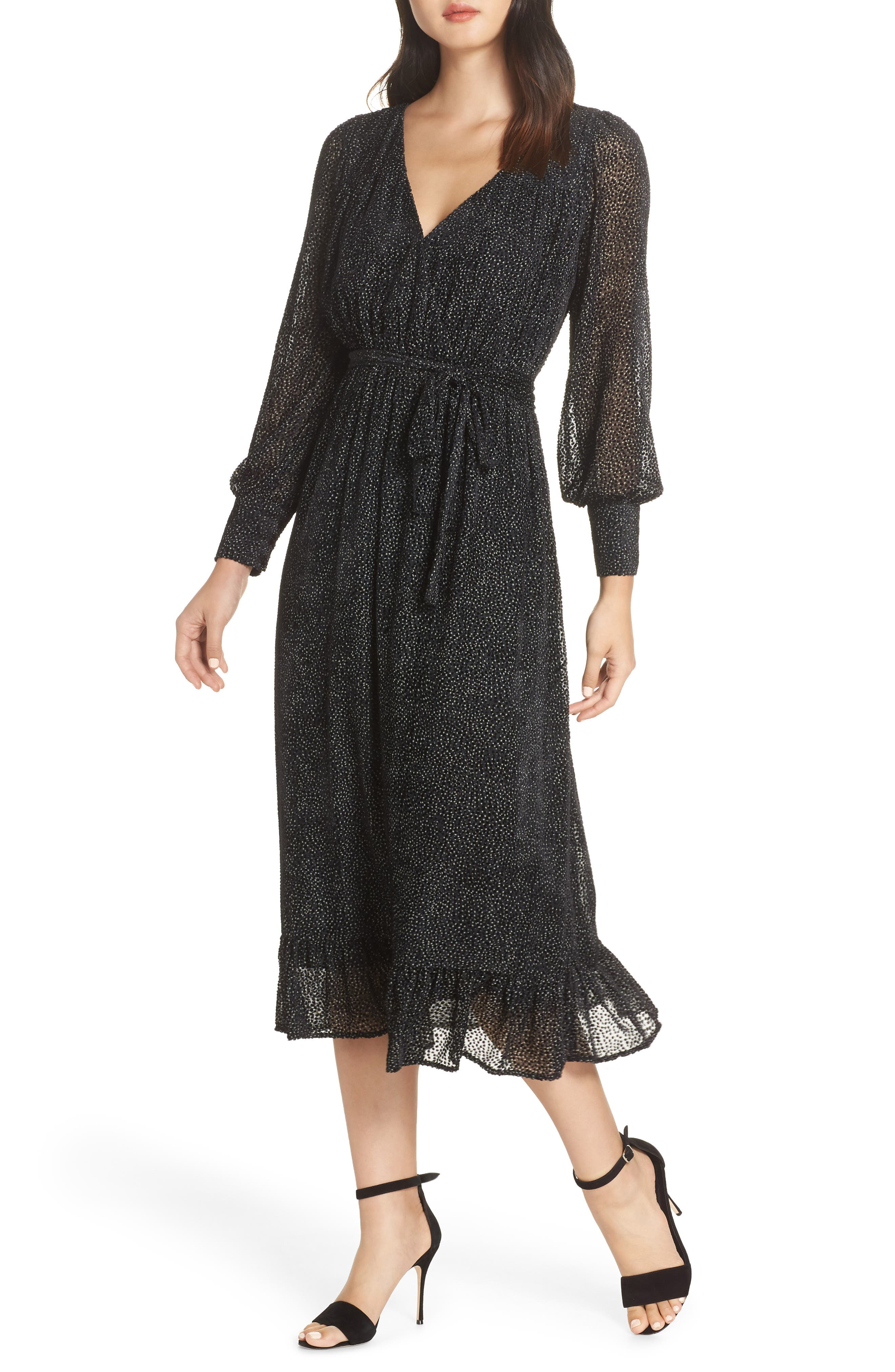 Surplice Midi Dress,                             Main thumbnail 1, color,                             BLACK