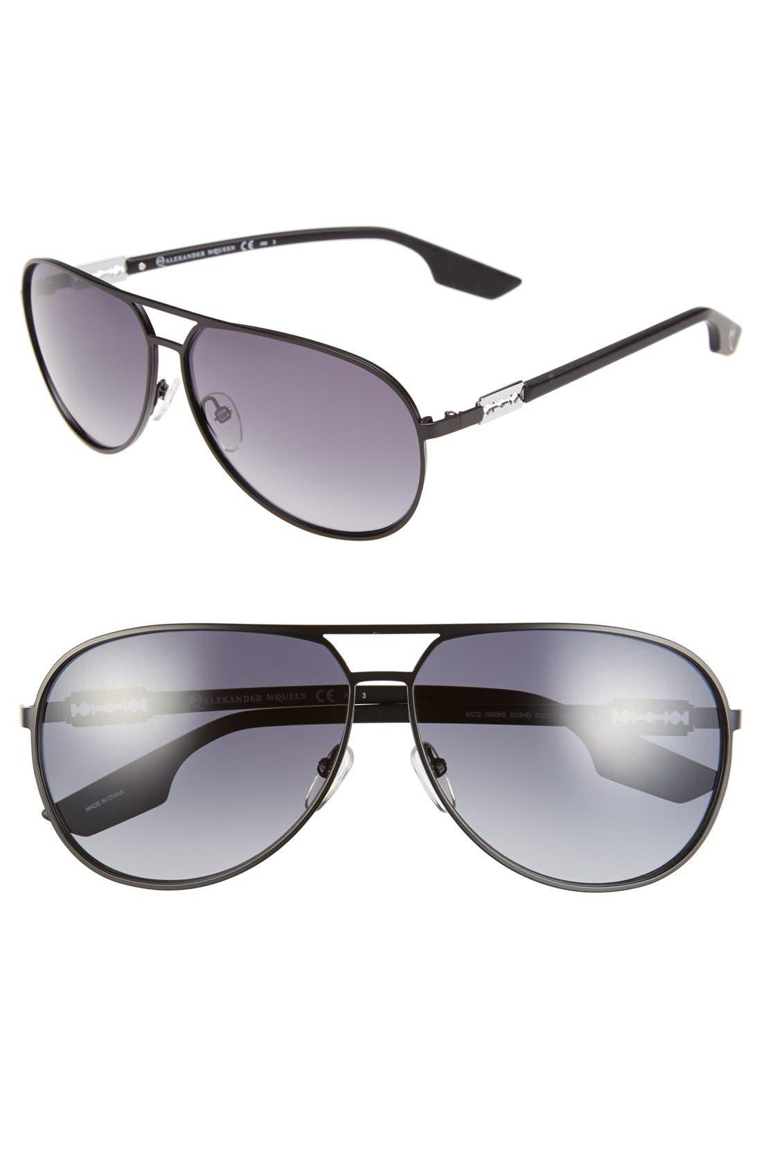 MCQ ALEXANDER MCQUEEN McQ by Alexander McQueen 62mm Stainless Steel Aviator Sunglasses, Main, color, 001