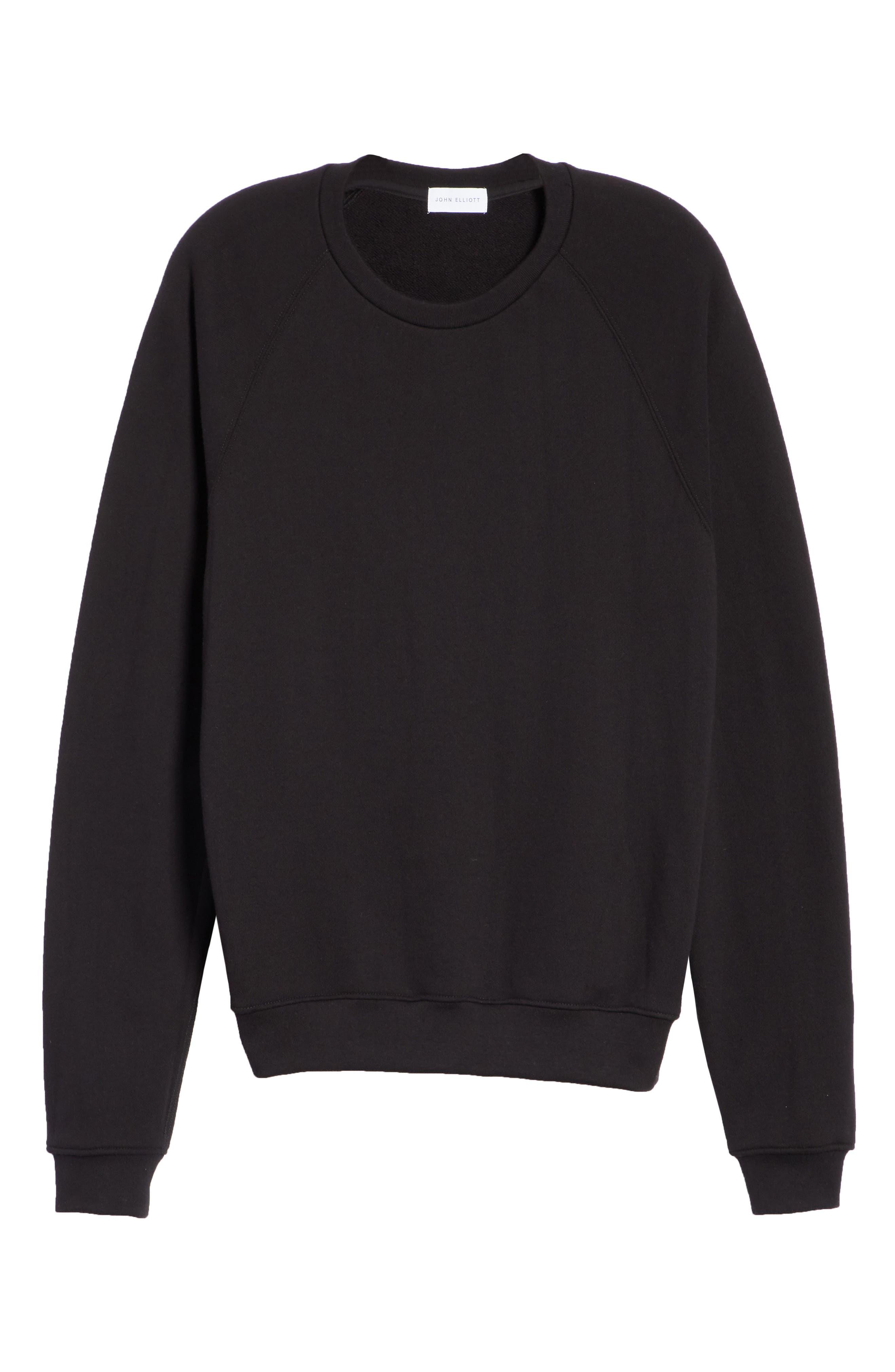 Raglan Crewneck Sweatshirt,                             Alternate thumbnail 6, color,                             BLACK