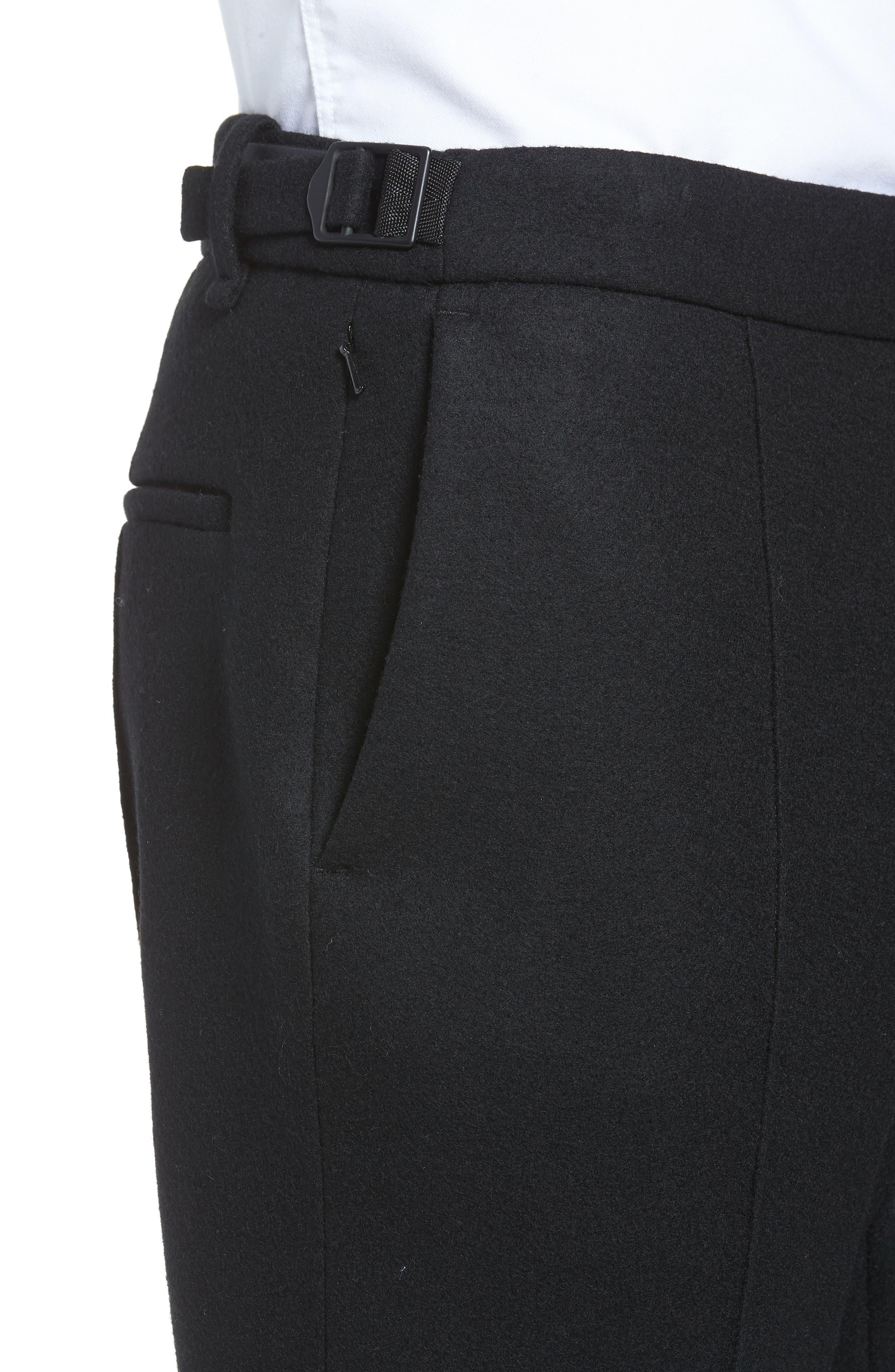 Sector Slim Fit Wool Jersey Pants,                             Alternate thumbnail 4, color,                             BLACK