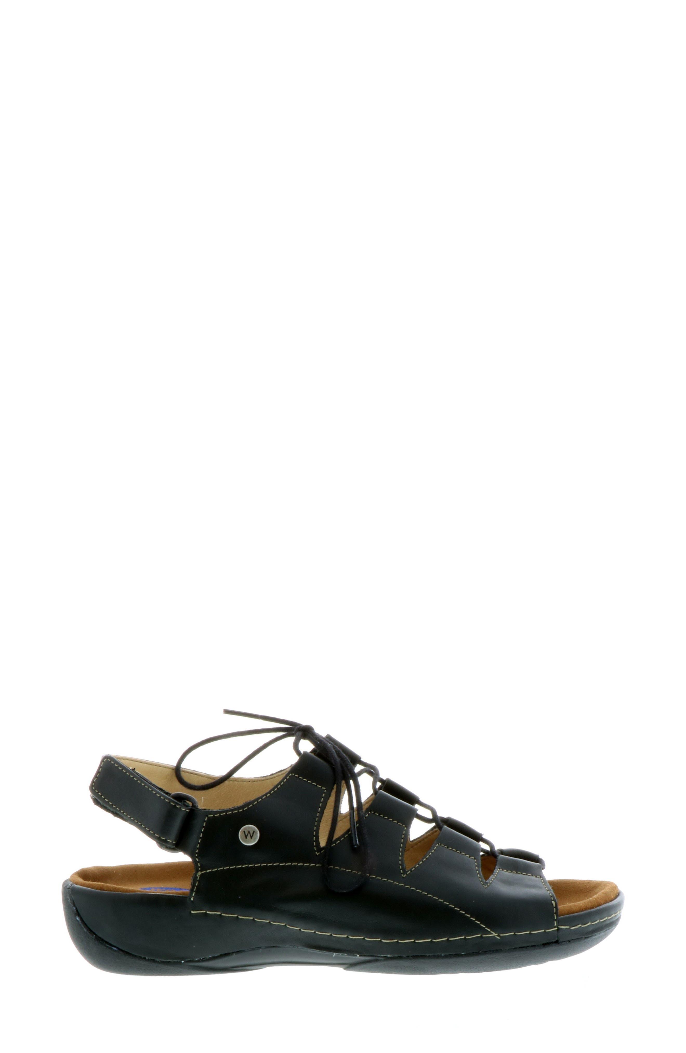 Kite Lace-Up Sandal,                             Alternate thumbnail 3, color,                             BLACK LEATHER