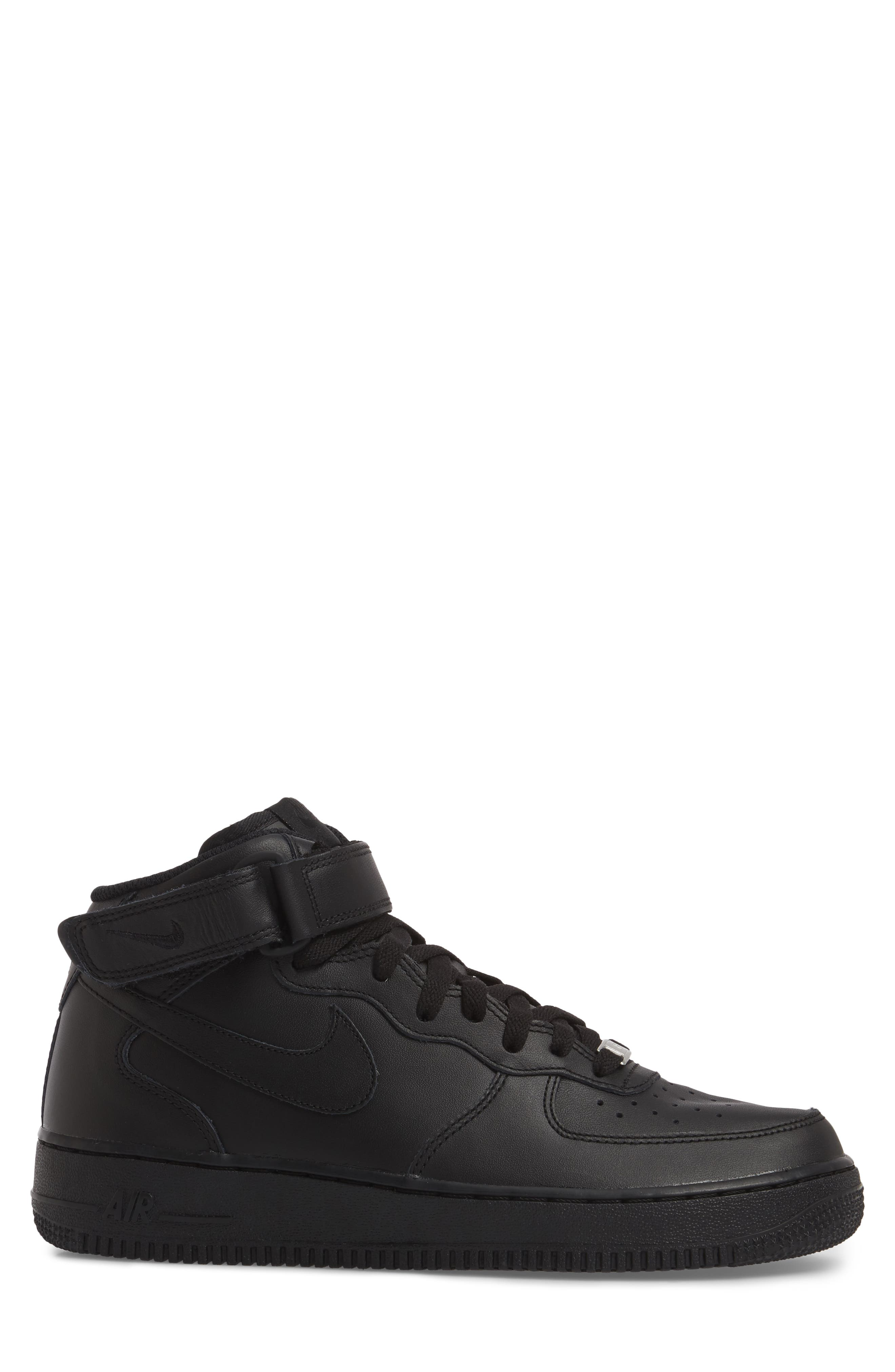 Air Force 1 Mid '07 Sneaker,                             Alternate thumbnail 3, color,                             BLACK/ BLACK