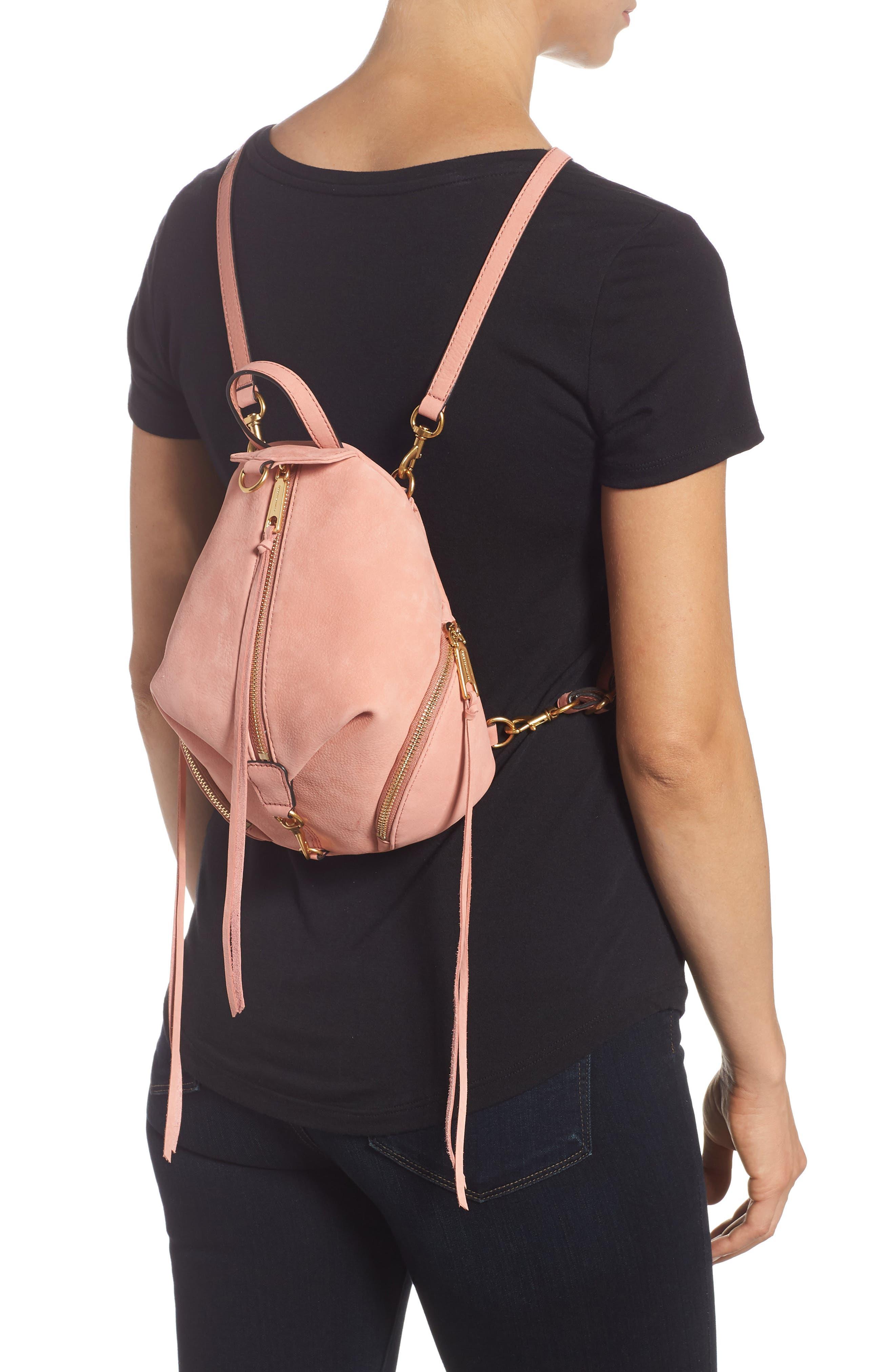Mini Julian Nubuck Leather Convertible Backpack,                             Alternate thumbnail 2, color,                             DUSTY PEACH