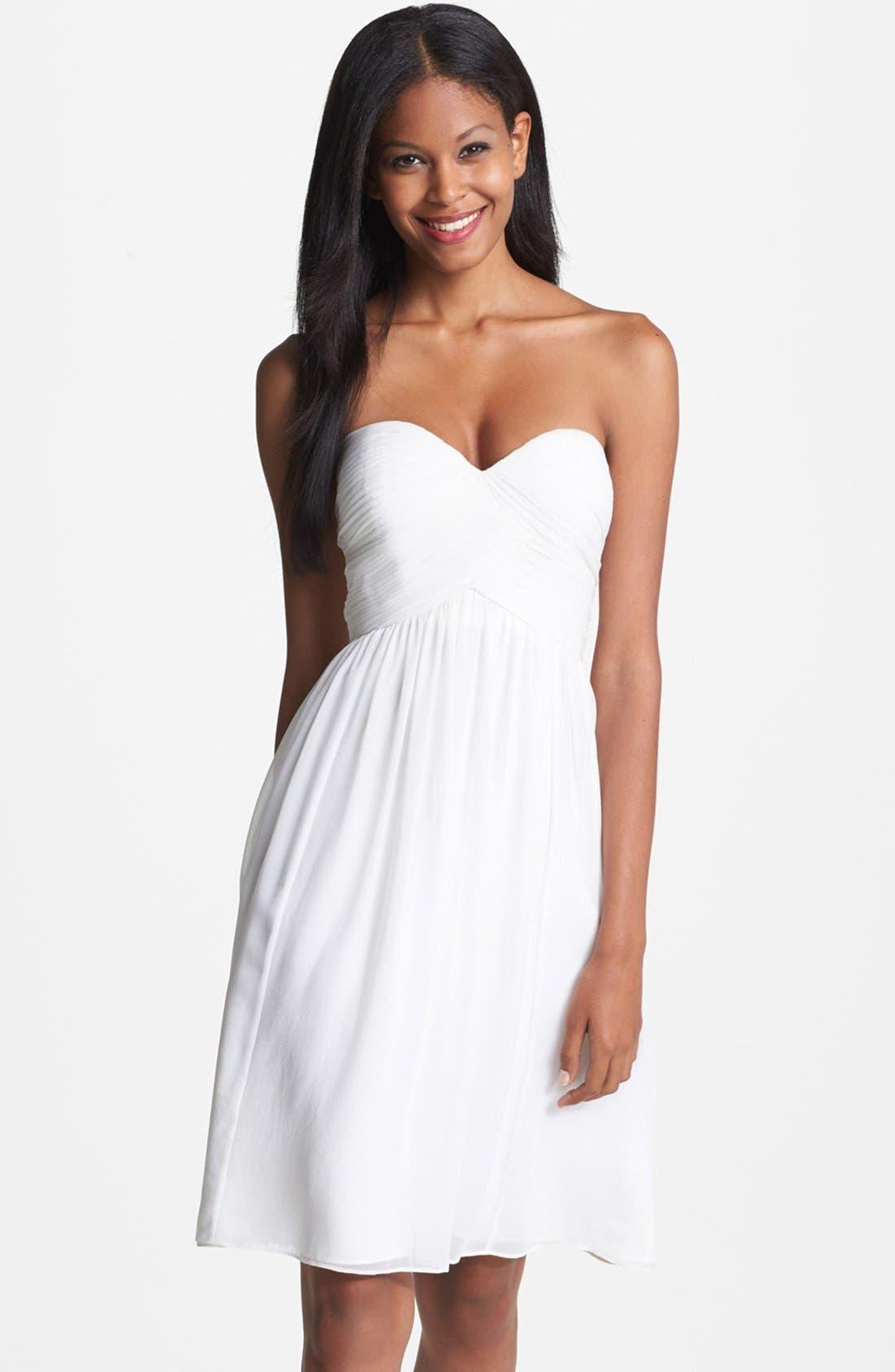 'Morgan' Strapless Silk Chiffon Dress,                             Main thumbnail 6, color,