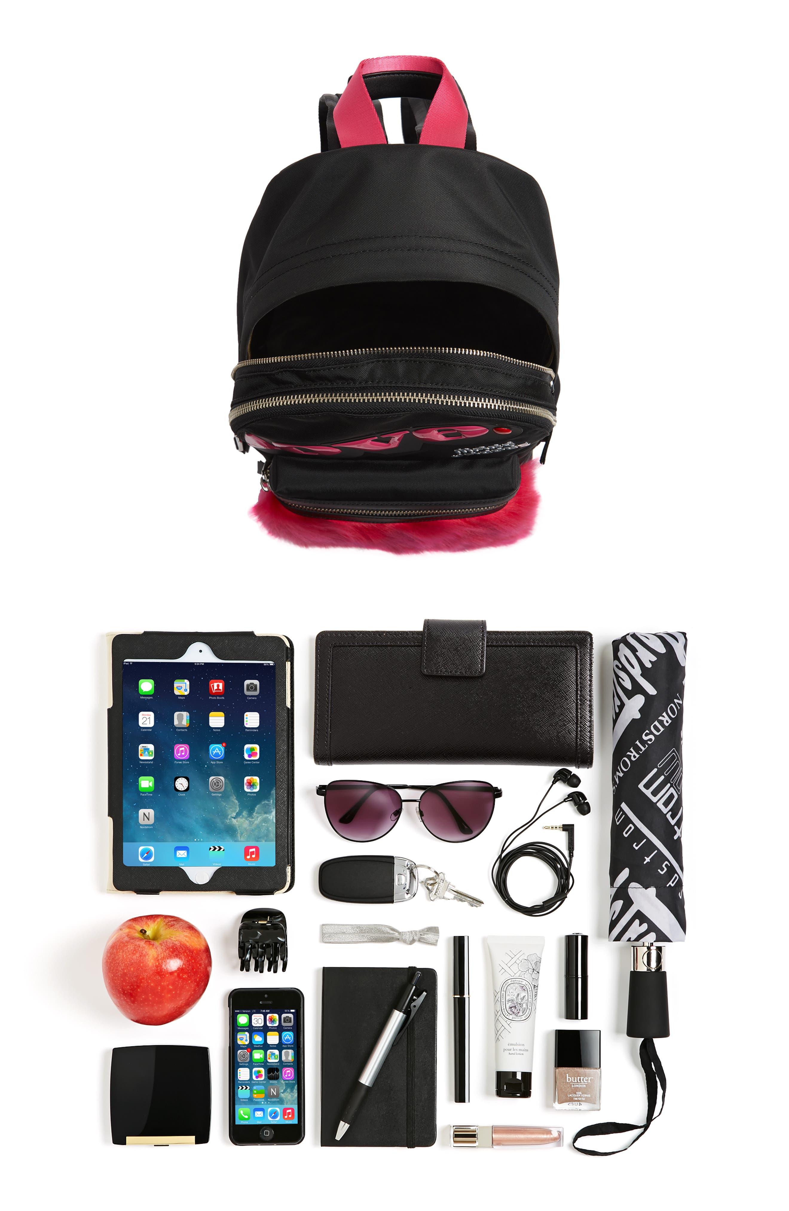 Love Medium Trek Nylon & Genuine Shearling Backpack,                             Alternate thumbnail 7, color,                             002