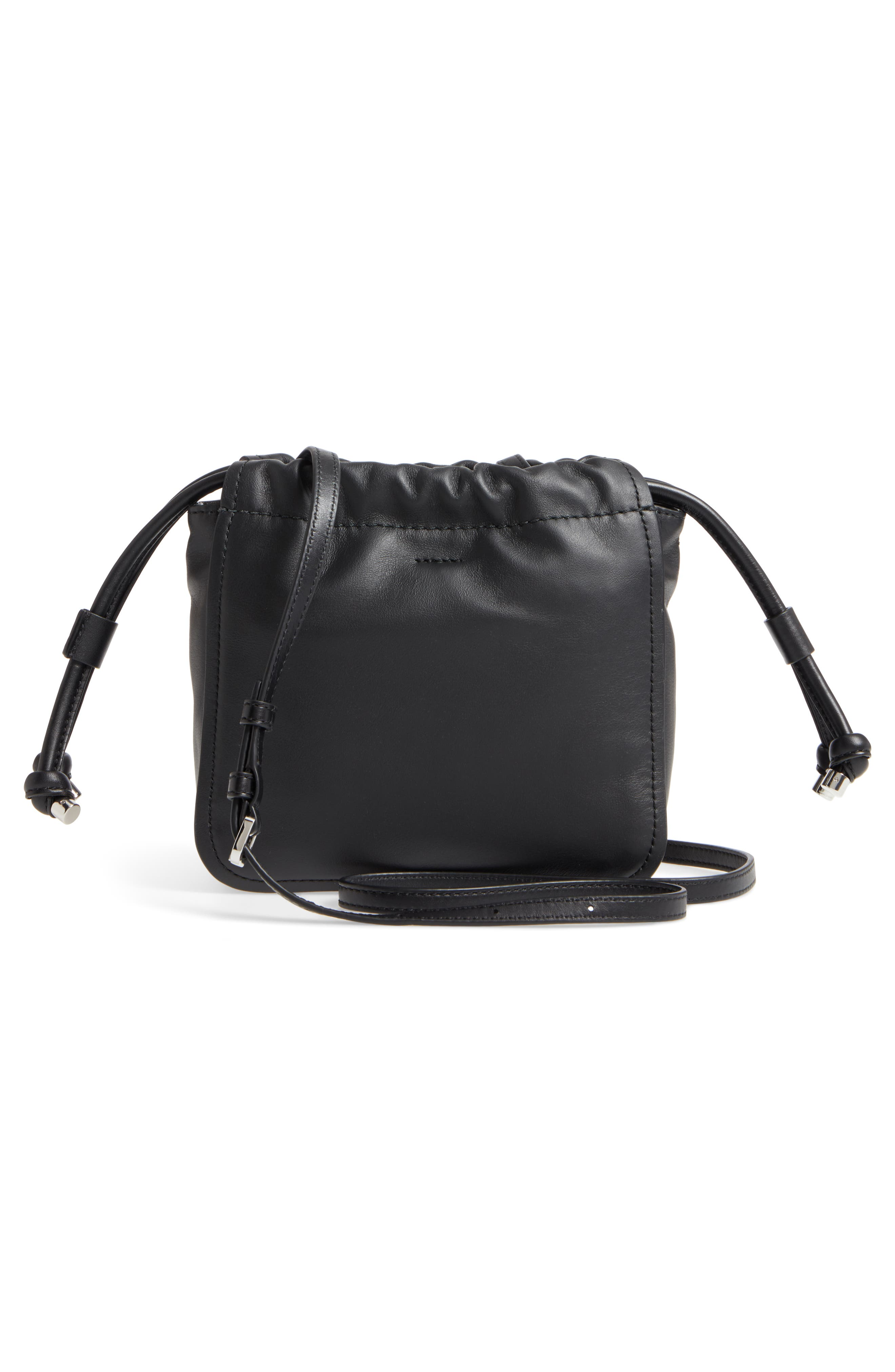 Tied Up Leather Crossbody Bag,                             Alternate thumbnail 3, color,                             001