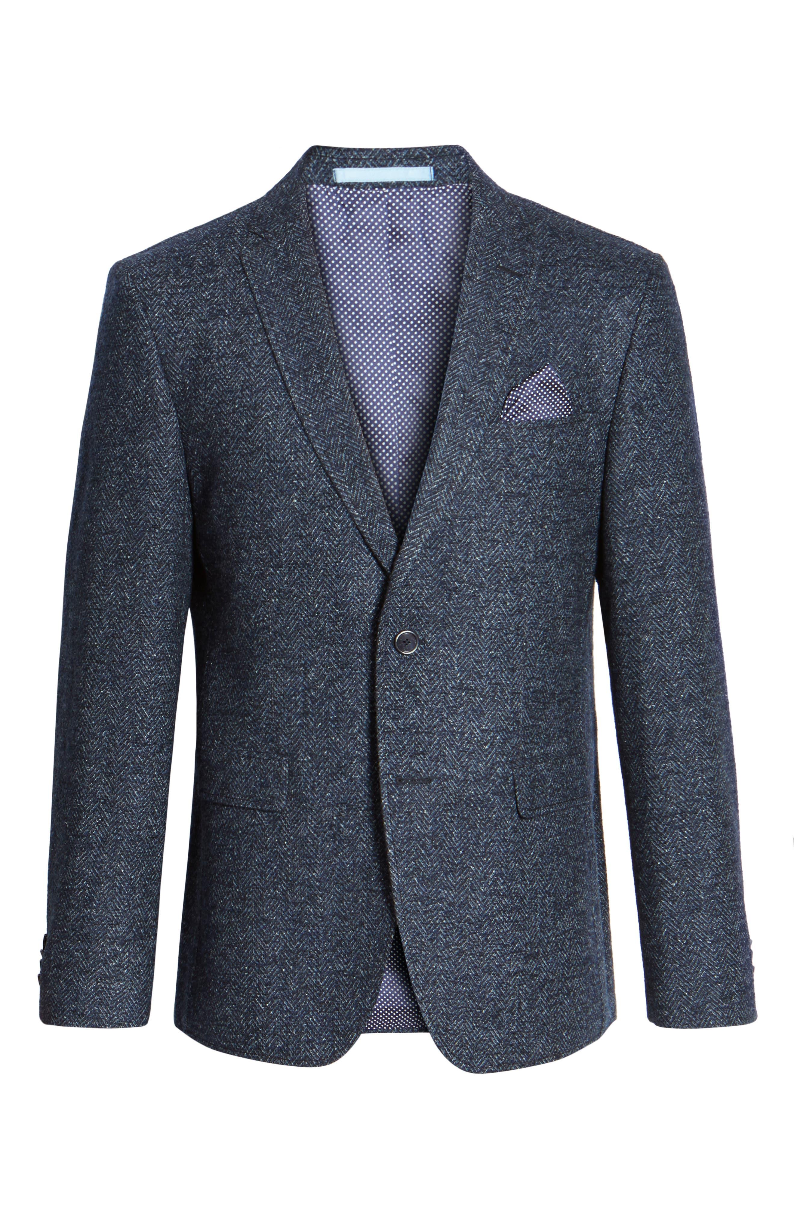 Trim Fit Herringbone Wool Blend Sport Coat,                             Alternate thumbnail 5, color,