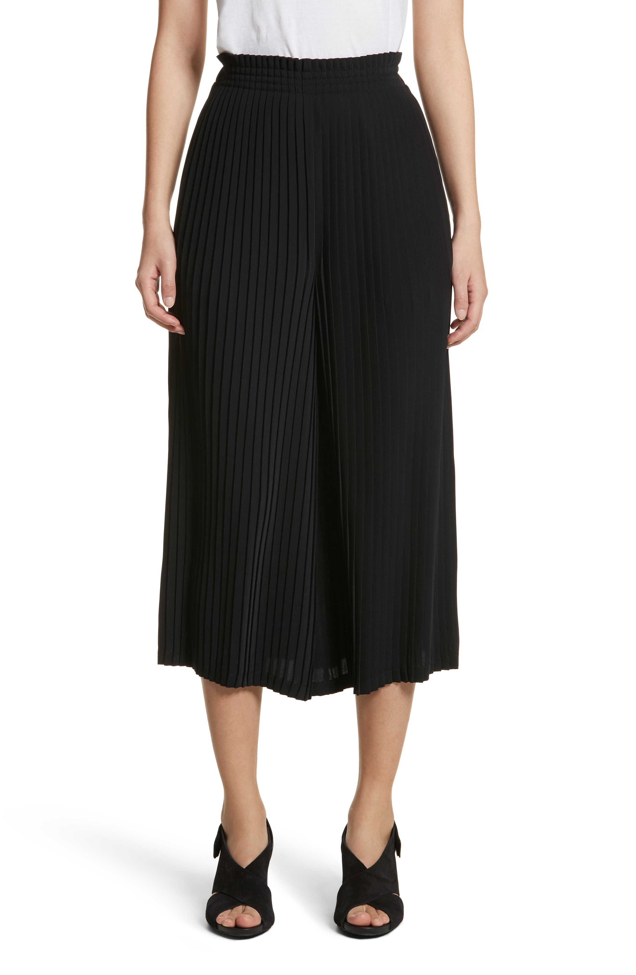 Pleated Crop Pants,                             Main thumbnail 1, color,                             001