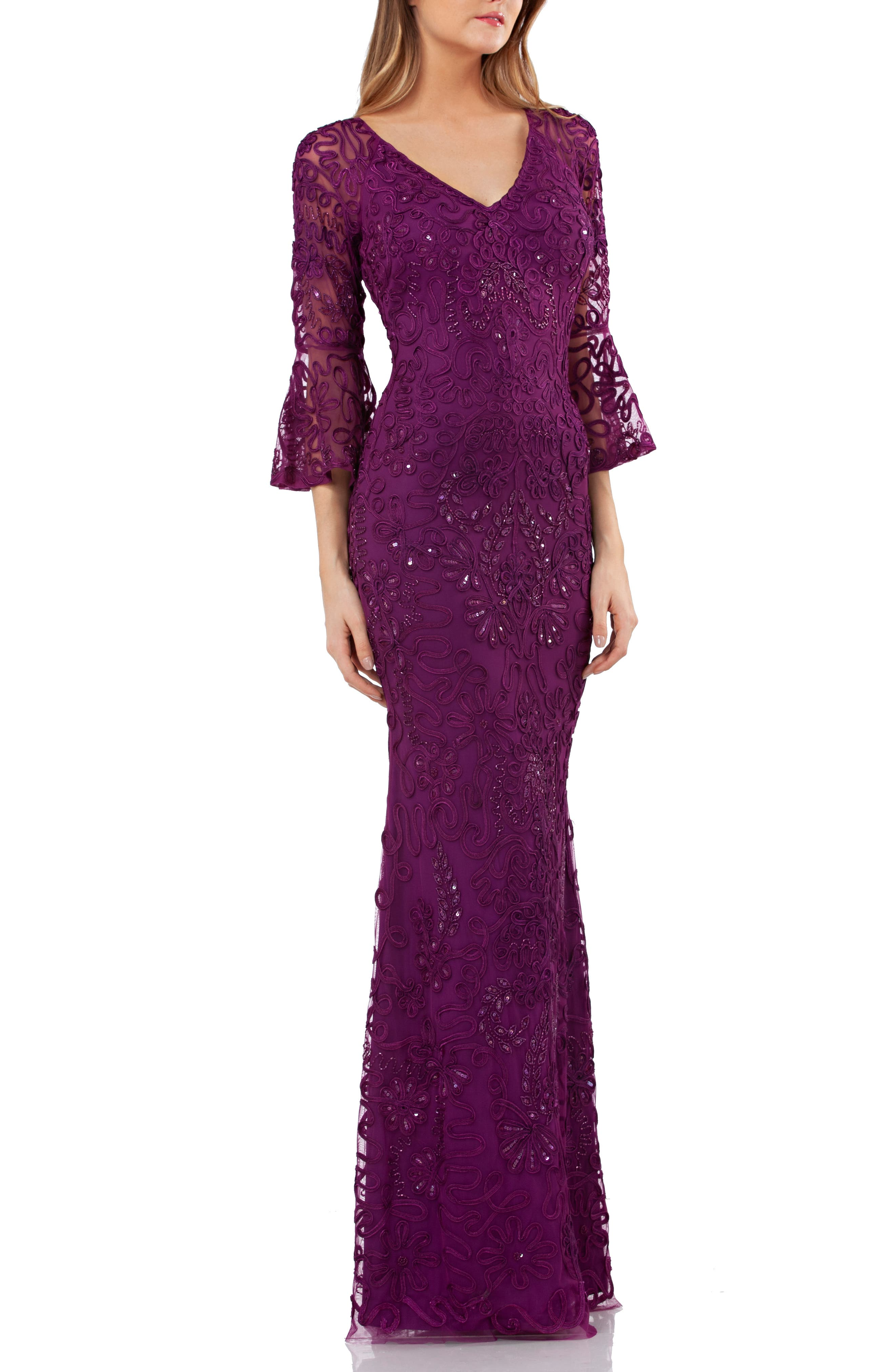 Js Collections Soutache Embroidered Trumpet Gown, Purple