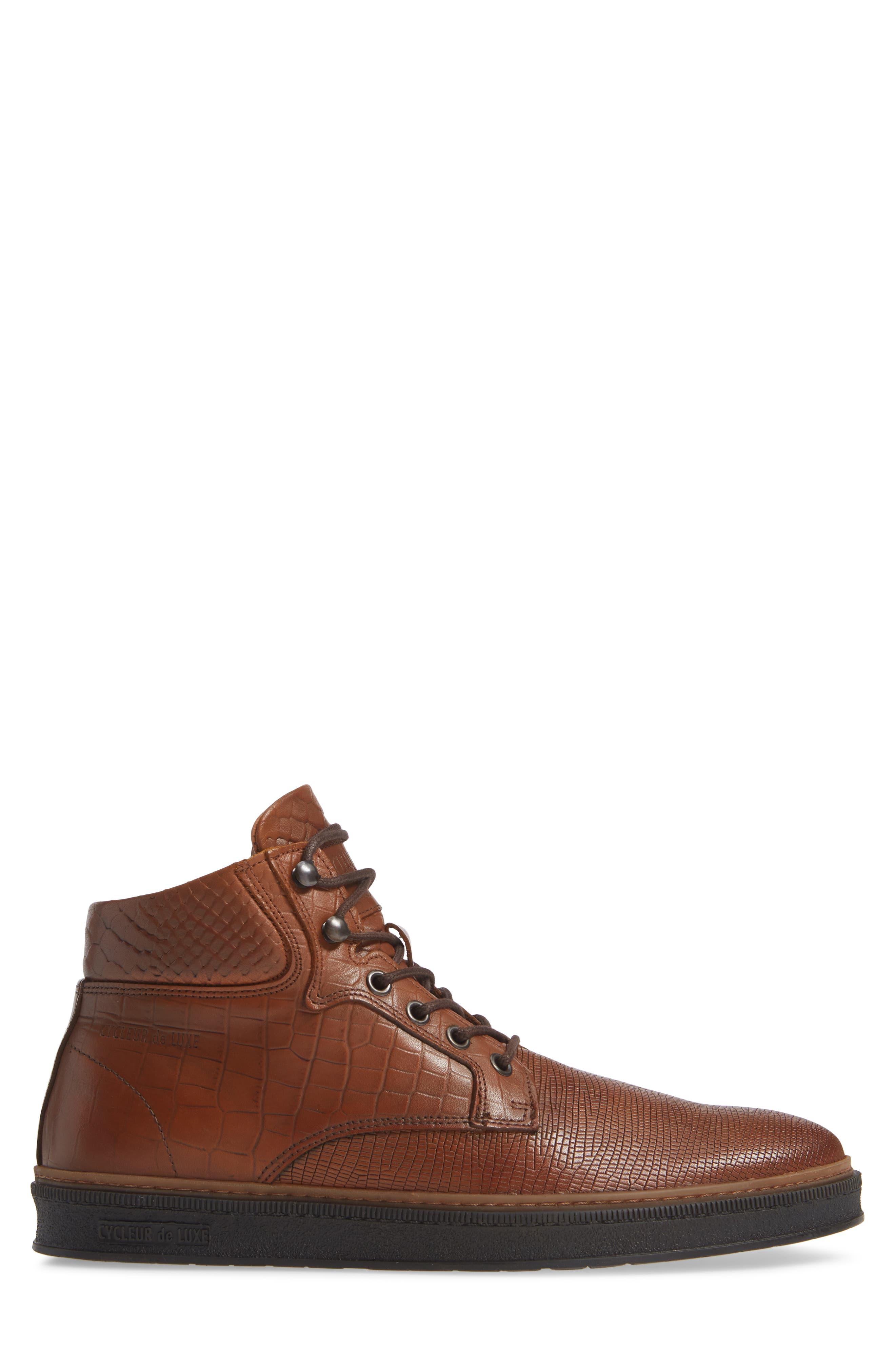 Lissabon Sneaker,                             Alternate thumbnail 3, color,                             DARK COGNAC