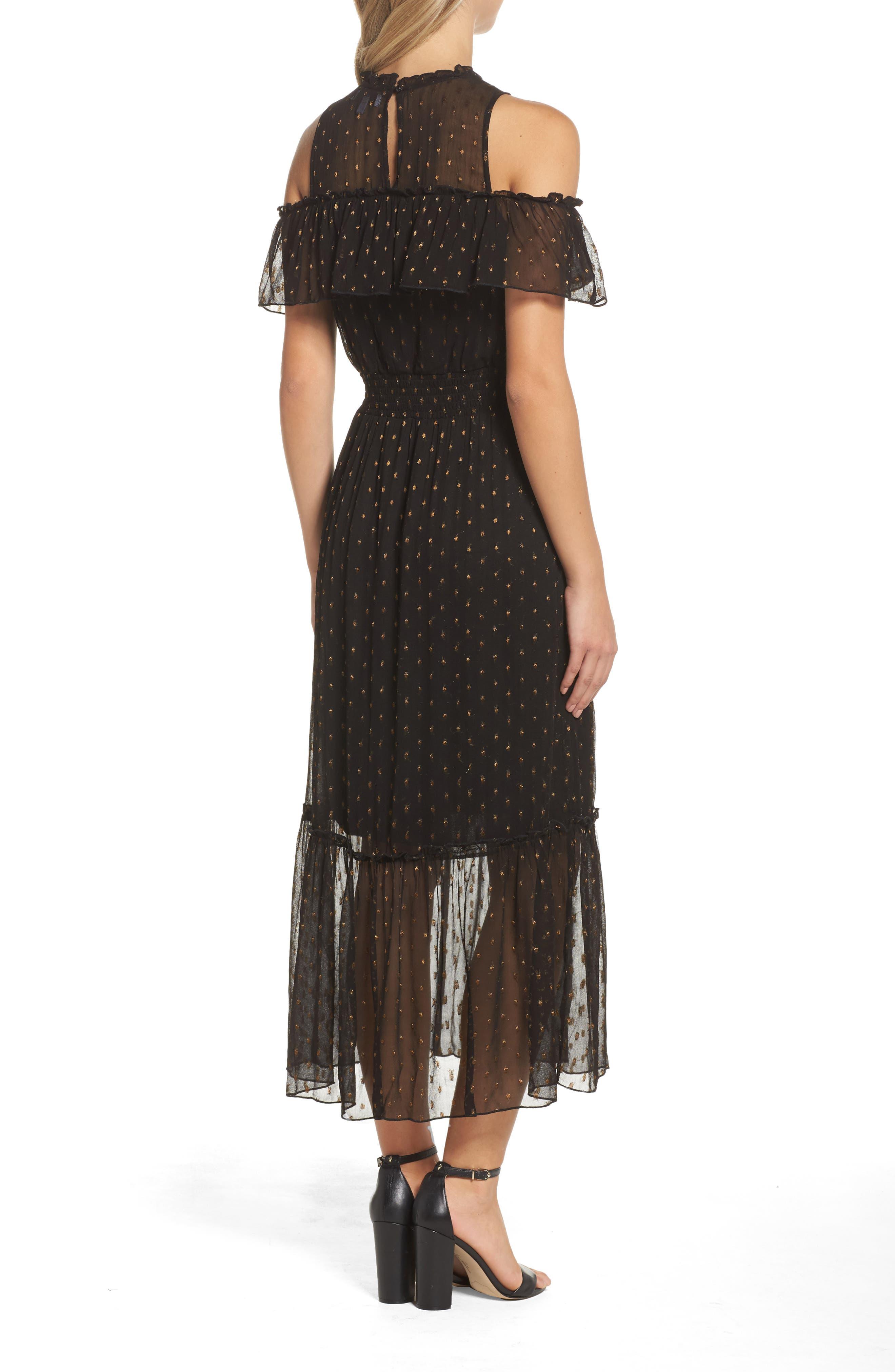NSR,                             Lace Cold Shoulder Midi Dress,                             Alternate thumbnail 2, color,                             001