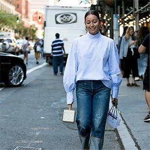 Blue jean baby: fashion stylist Rachael Wang.