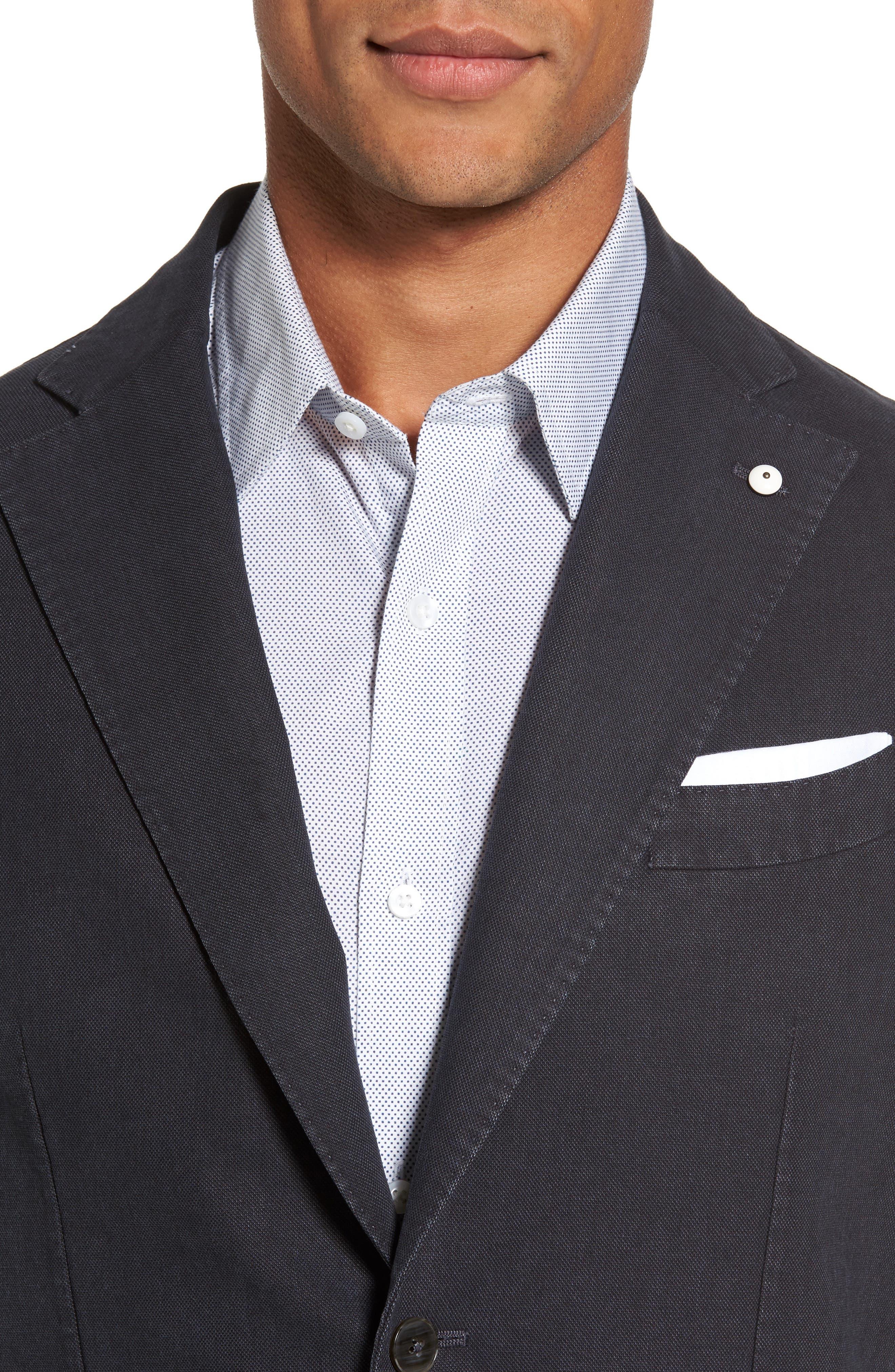 Classic Fit Cotton Blend Blazer,                             Alternate thumbnail 4, color,                             001