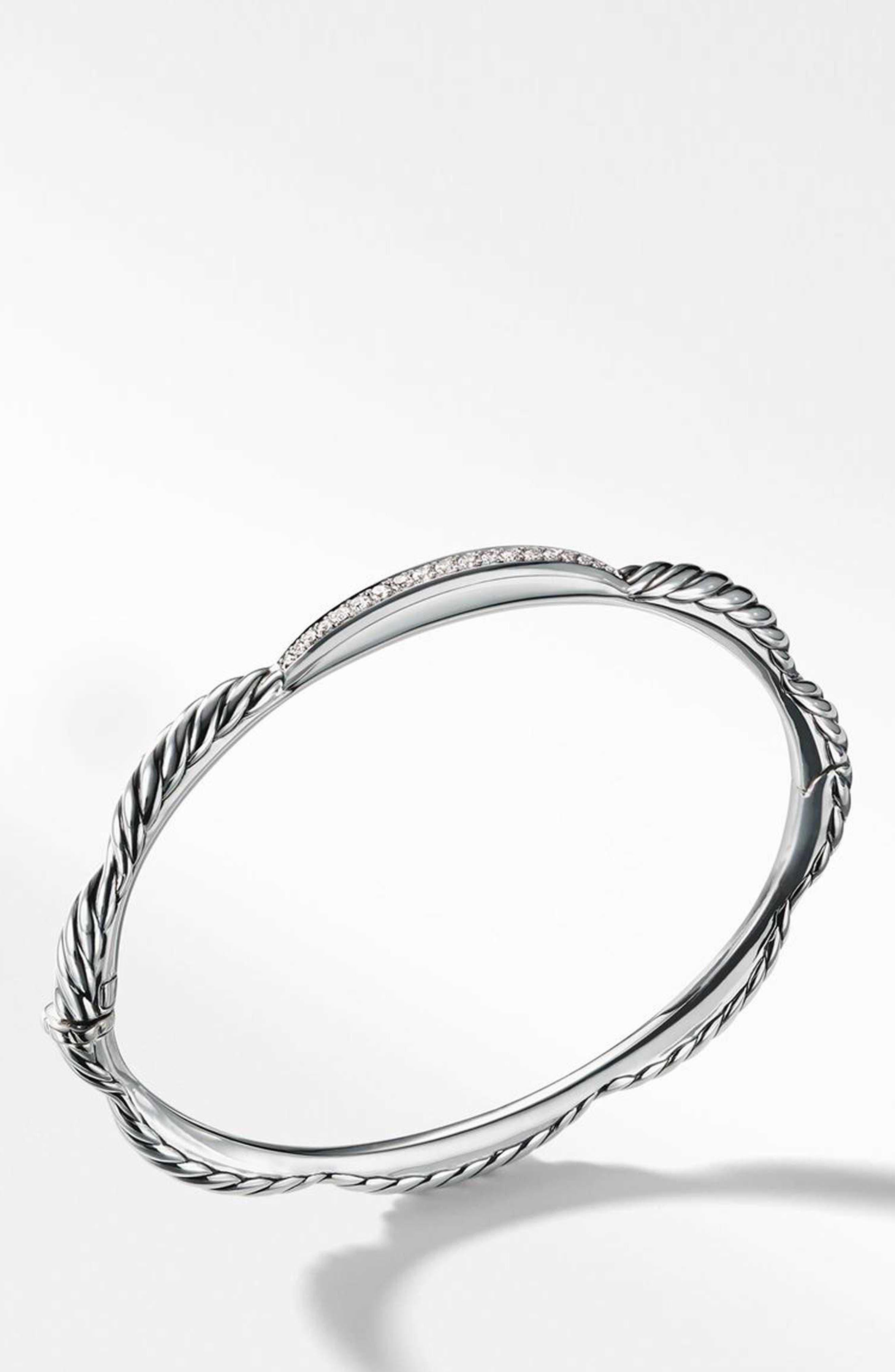 Tides Single Station Bracelet with Diamonds,                             Alternate thumbnail 2, color,                             STERLING SILVER/ DIAMOND
